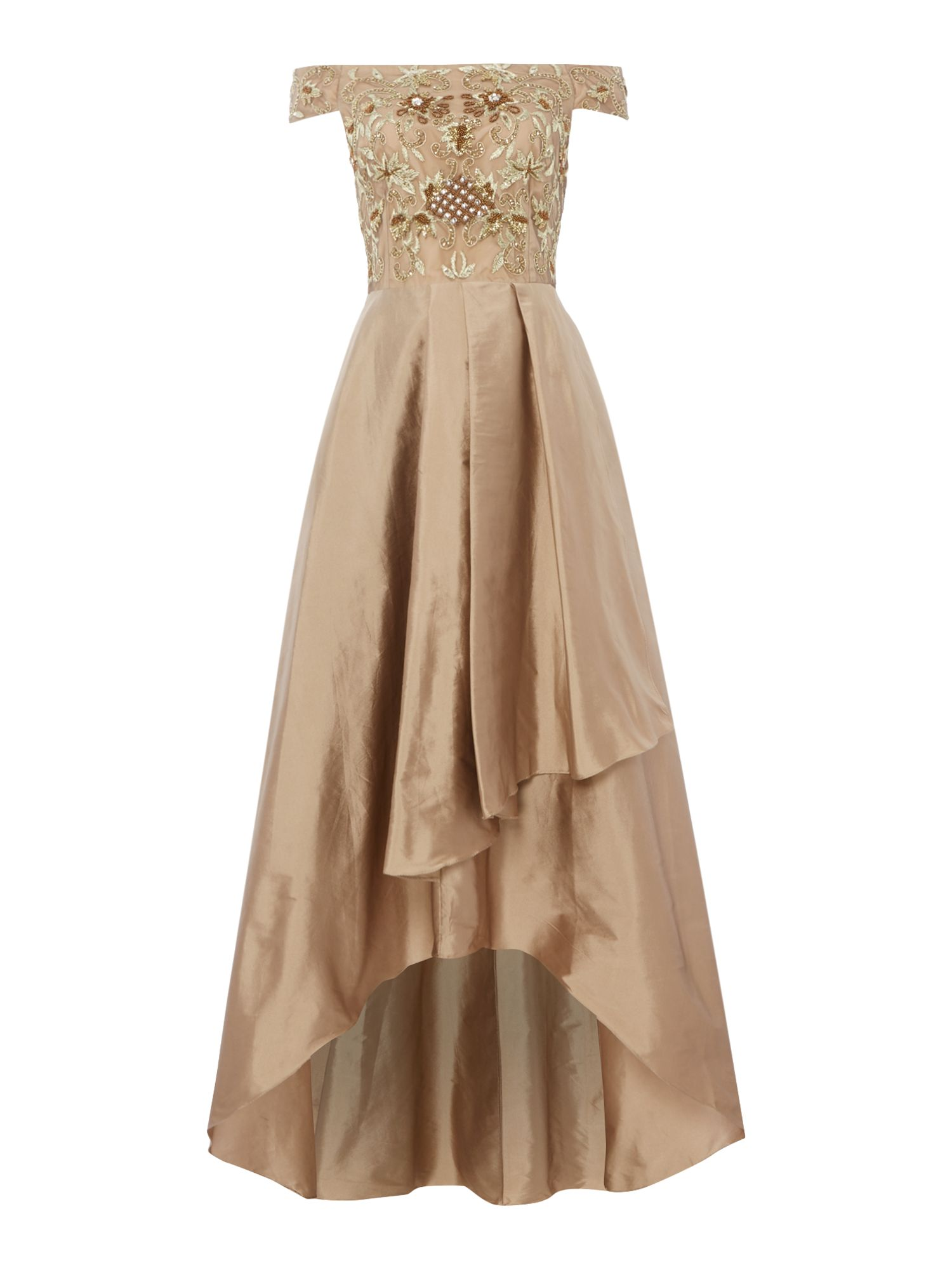 Adrianna Papell Short sleeve beaded gown, Gold