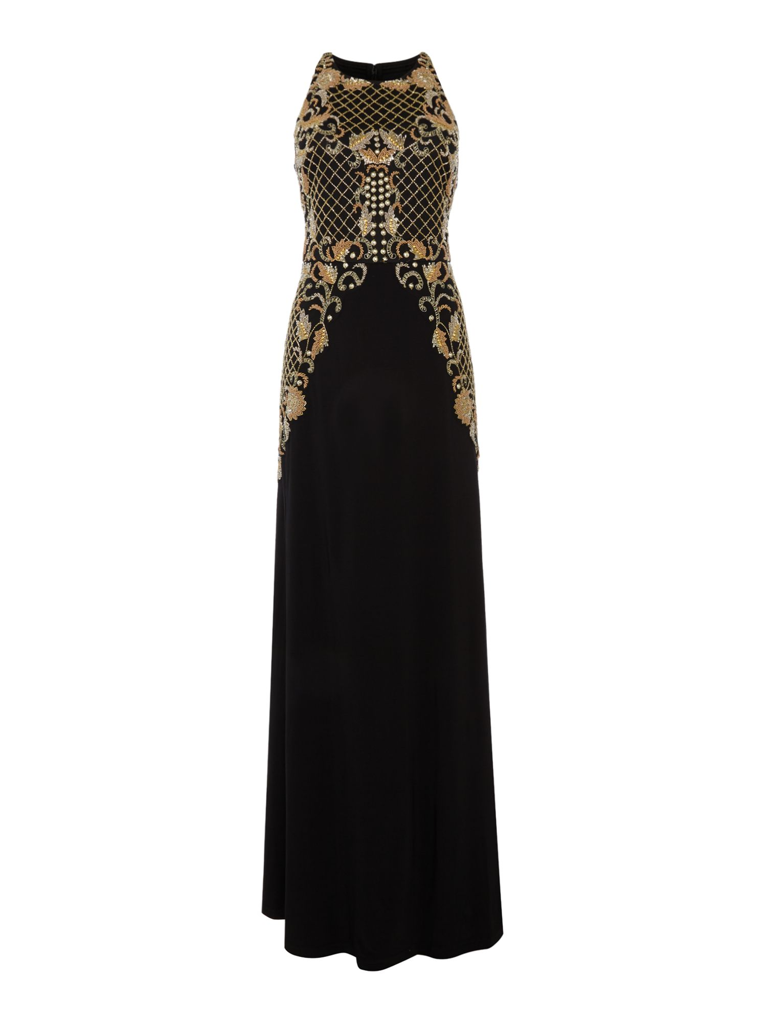 Adrianna Papell Halter neck maxi dress with beading, Black
