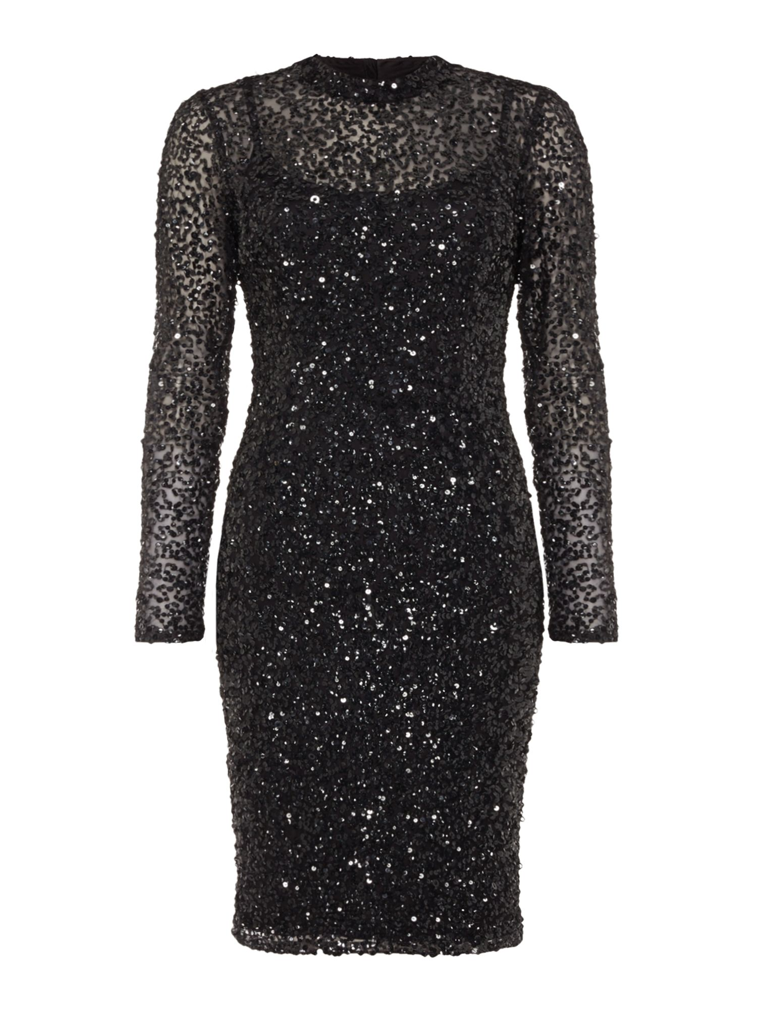Adrianna Papell Long sleeve sequin dress, Black