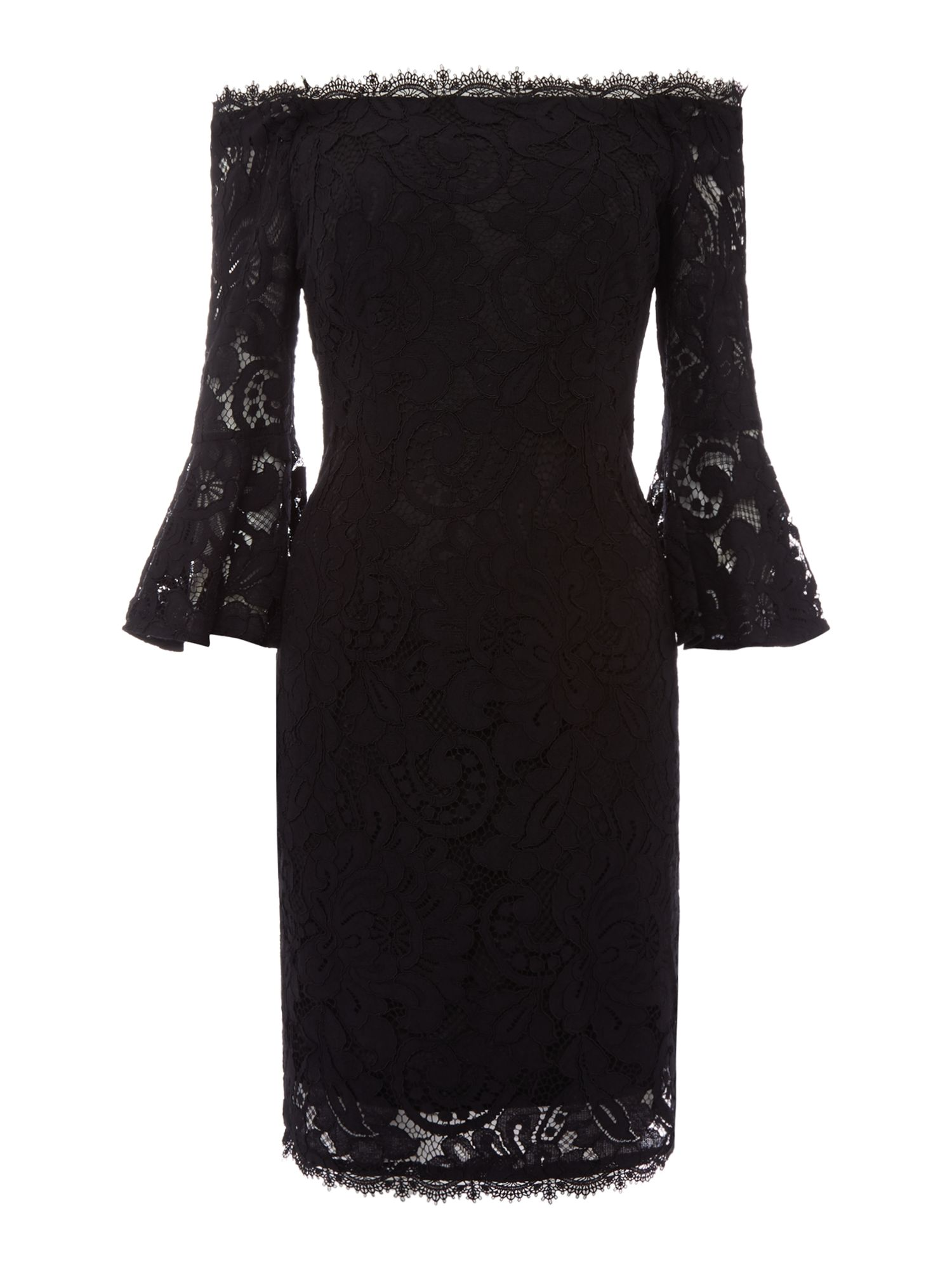 Adrianna Papell Black lace knee length dress, Black