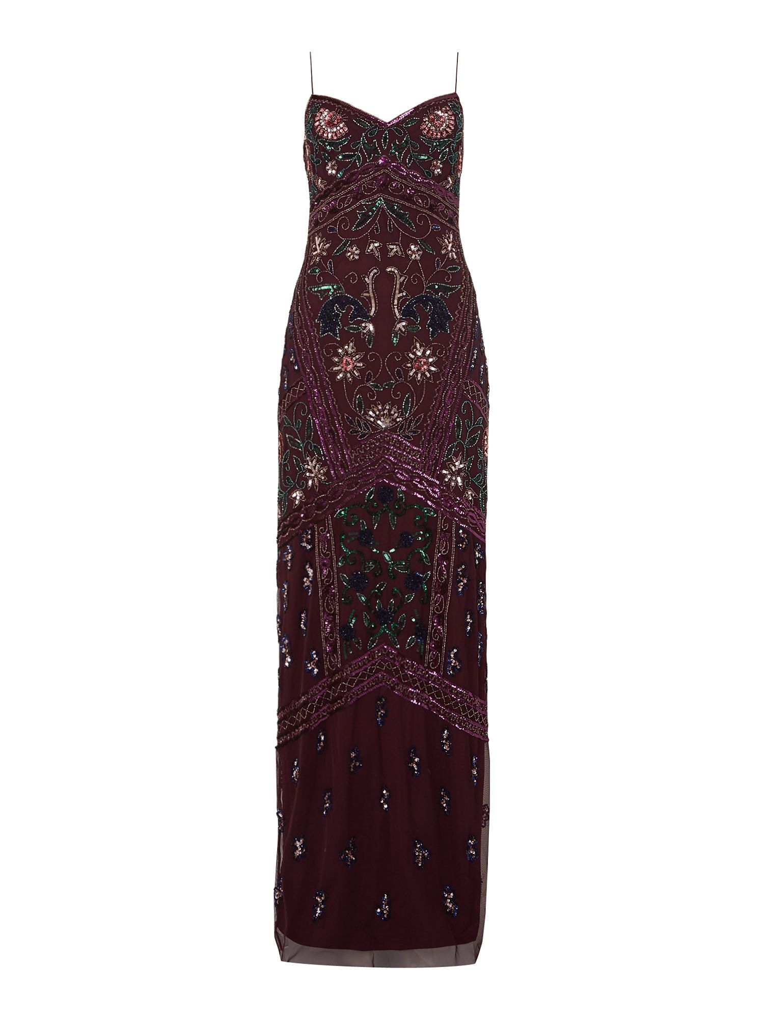 Adrianna Papell Strappy embellished floral maxi dress, Green