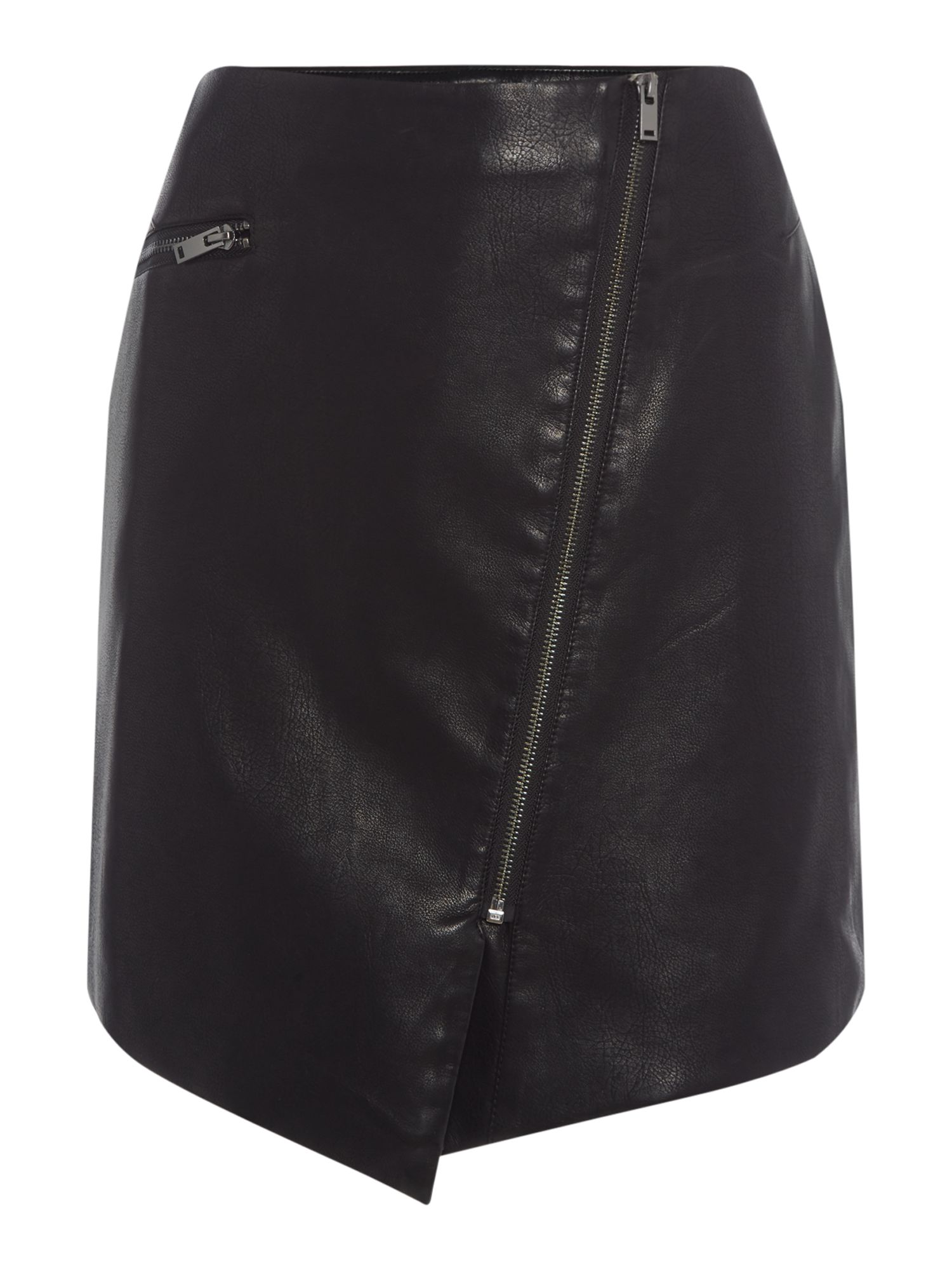 Label Lab Asymmetric Pu Mini Skirt, Black