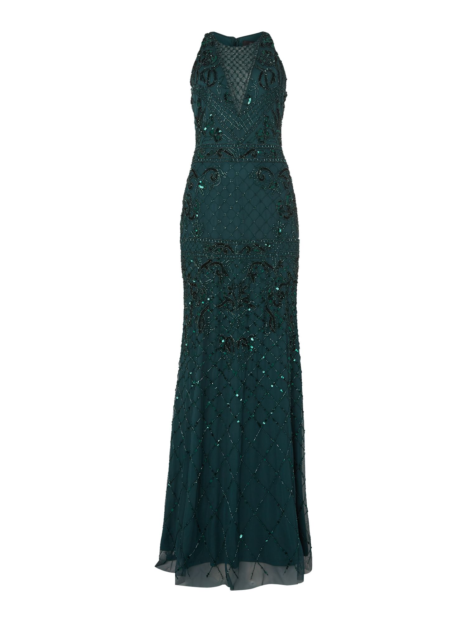 Adrianna Papell Sleeveless beaded maxi dress, Green