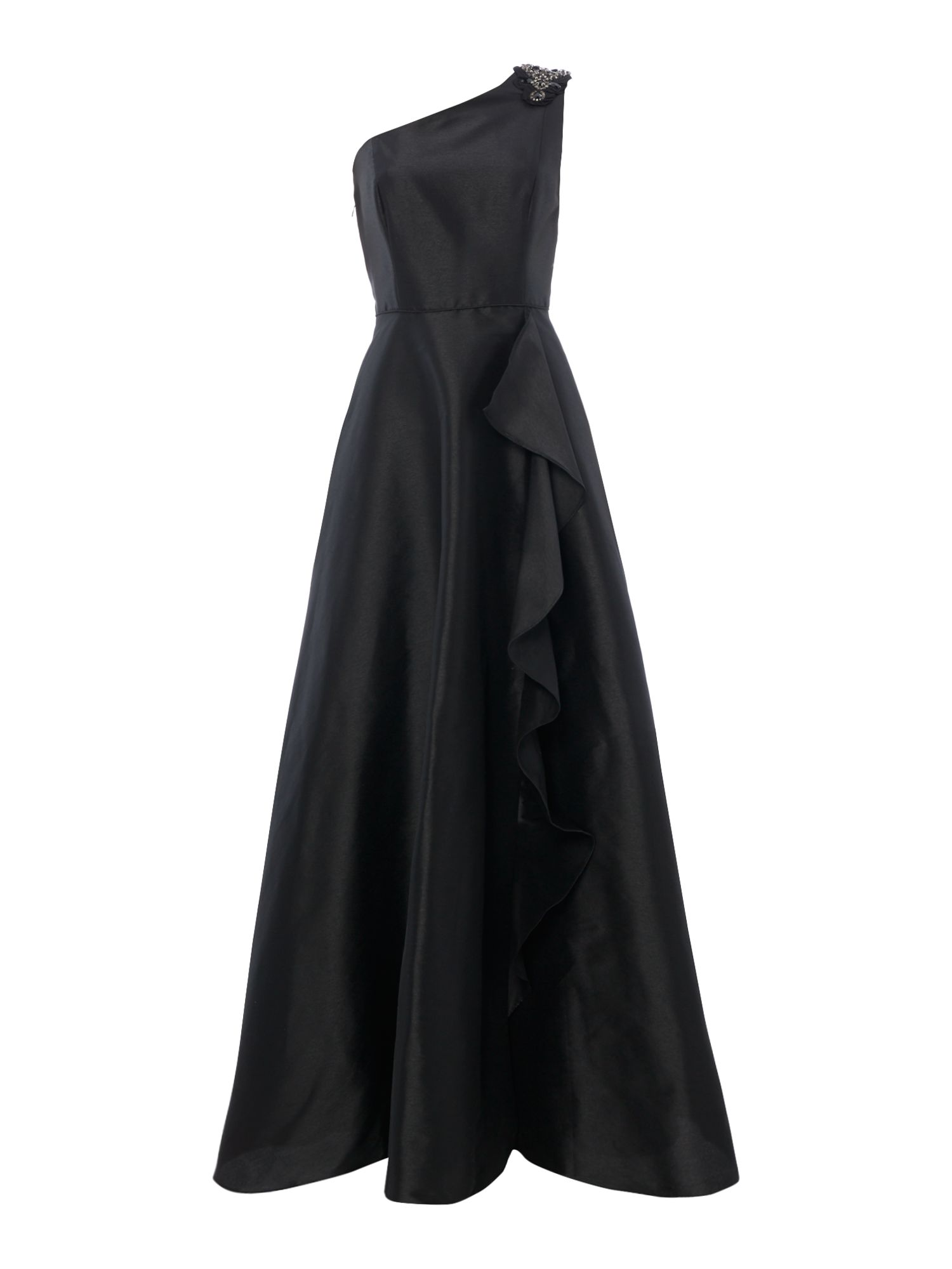 Adrianna Papell One shoulder gown, Black