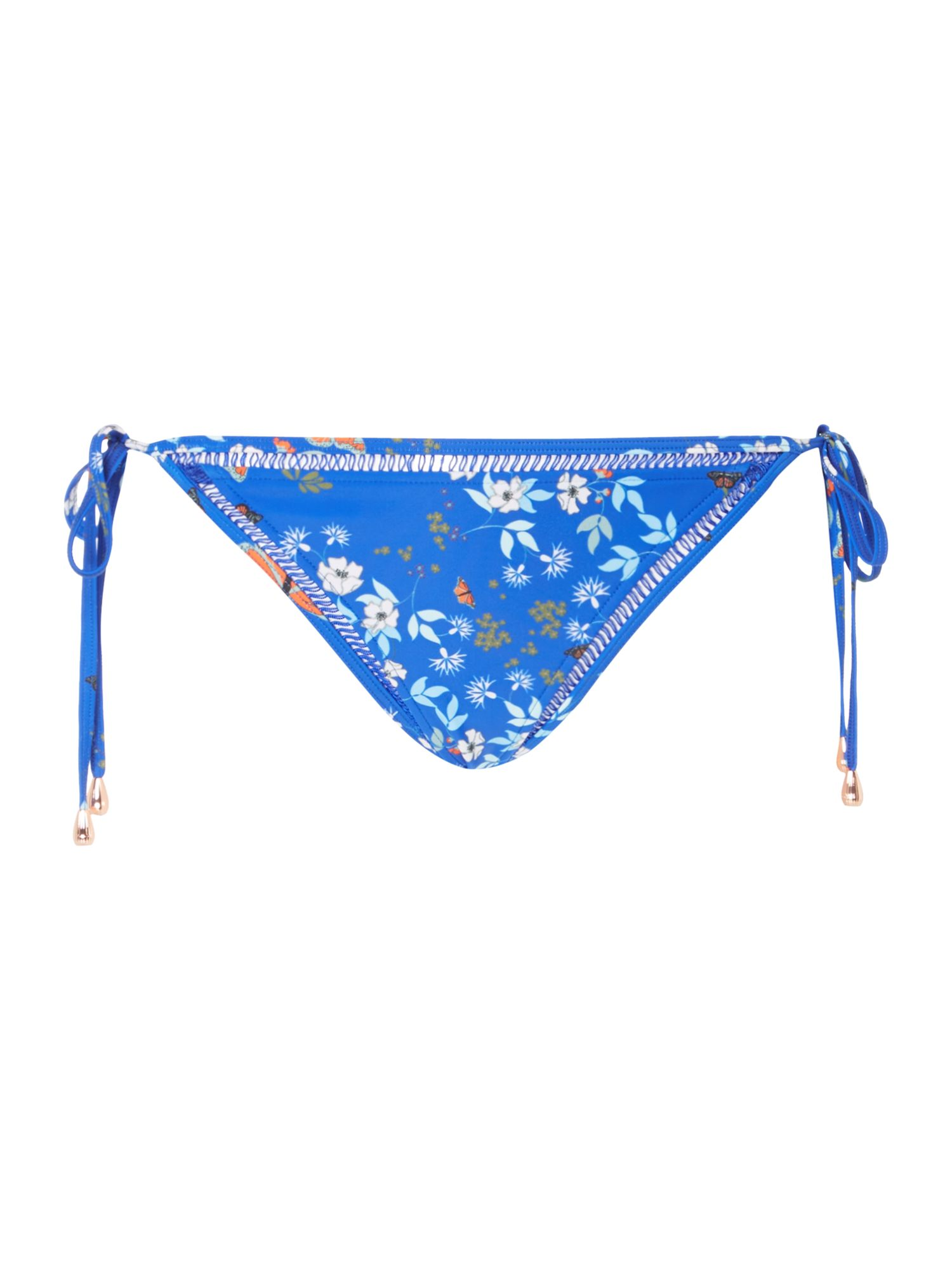 Ted Baker Kyoto gardens cut out tie side bikini brief, Bright Blue