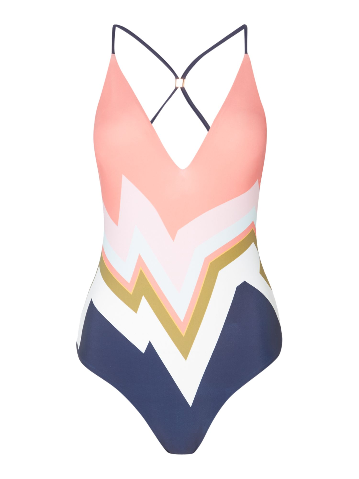 Ted Baker Missisippi colourblock print swimsuit, Multi-Coloured