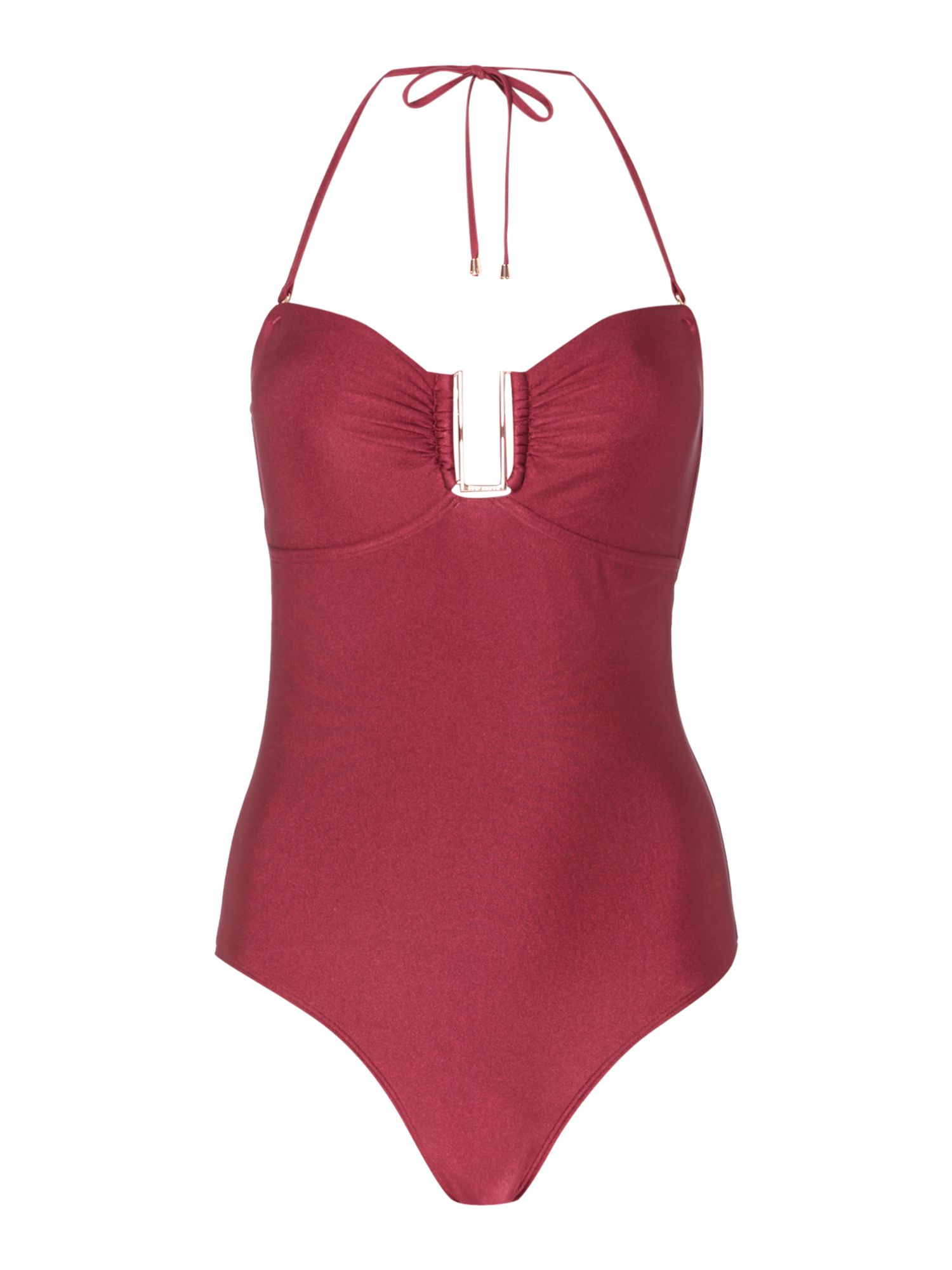 Ted Baker Anira bandeau trim swimsuit, Maroon