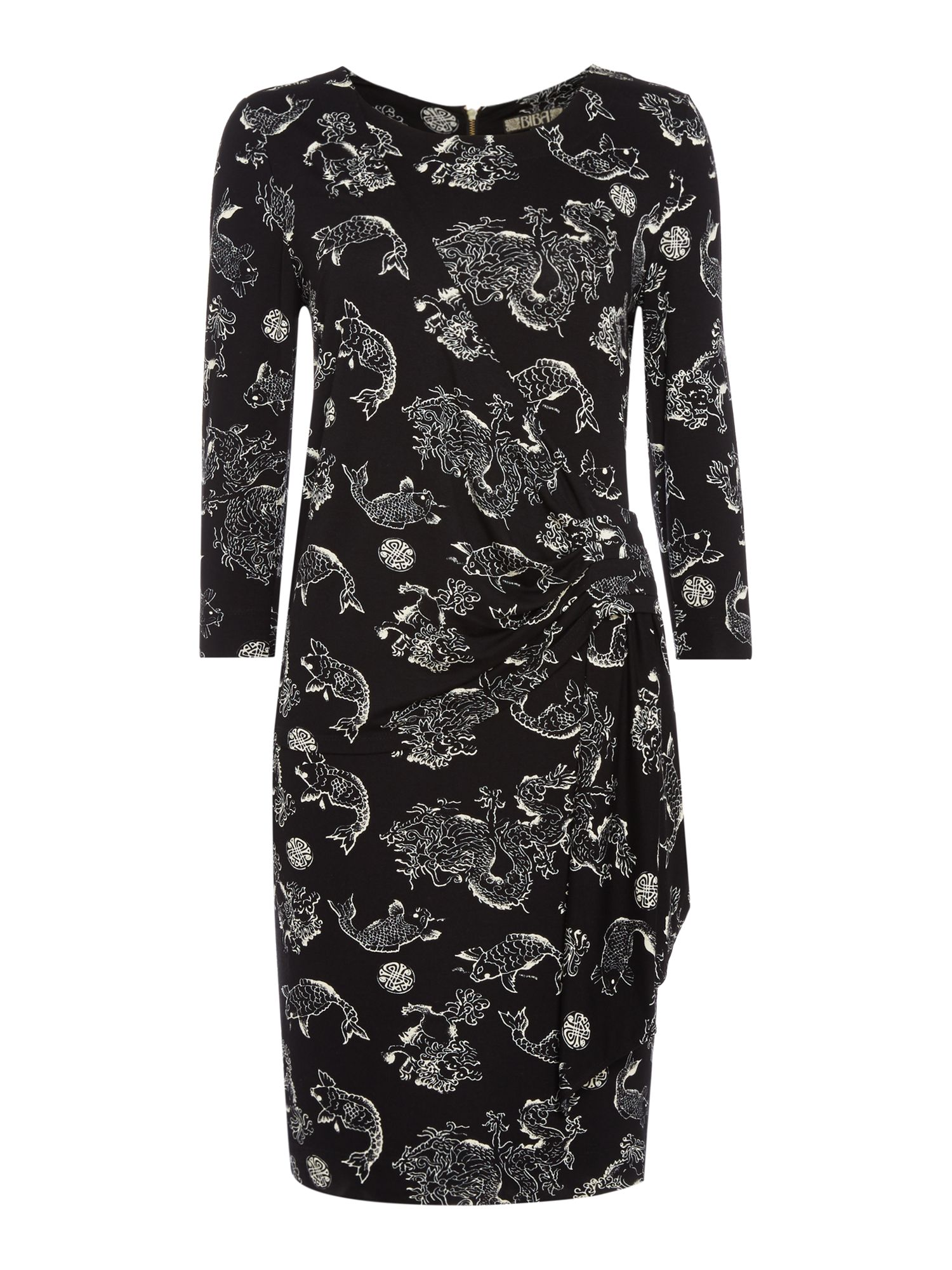 Biba Oriental printed jersey wrap dress, Black