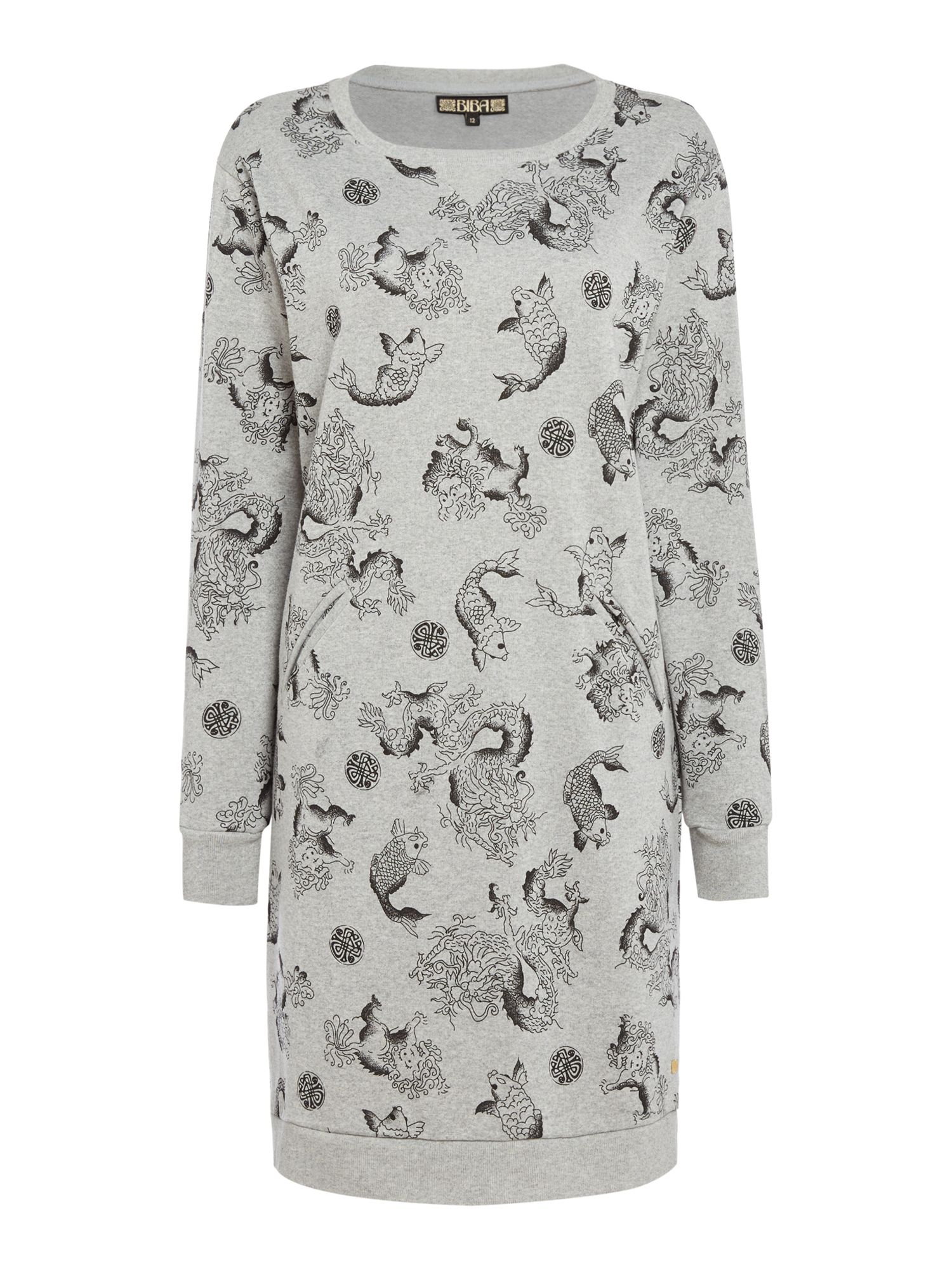 Biba Dragon print sweat dress, Grey