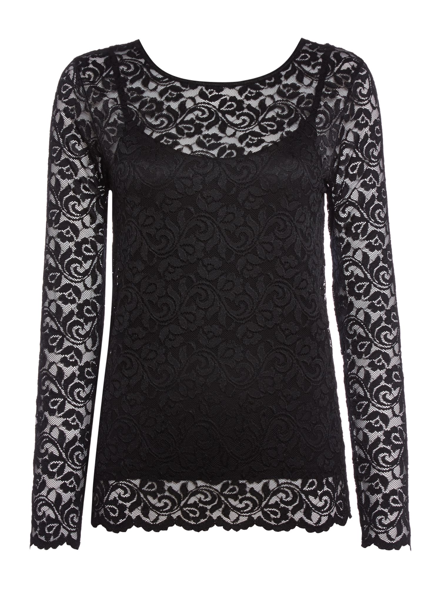 Biba Long sleeve lace top, Black
