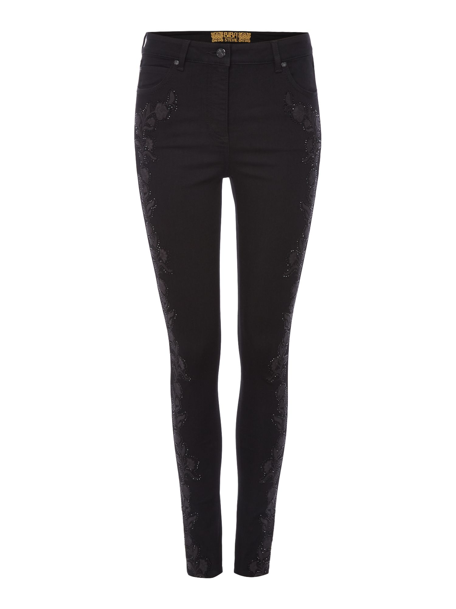 Biba Embroidered and embellished jeans, Black