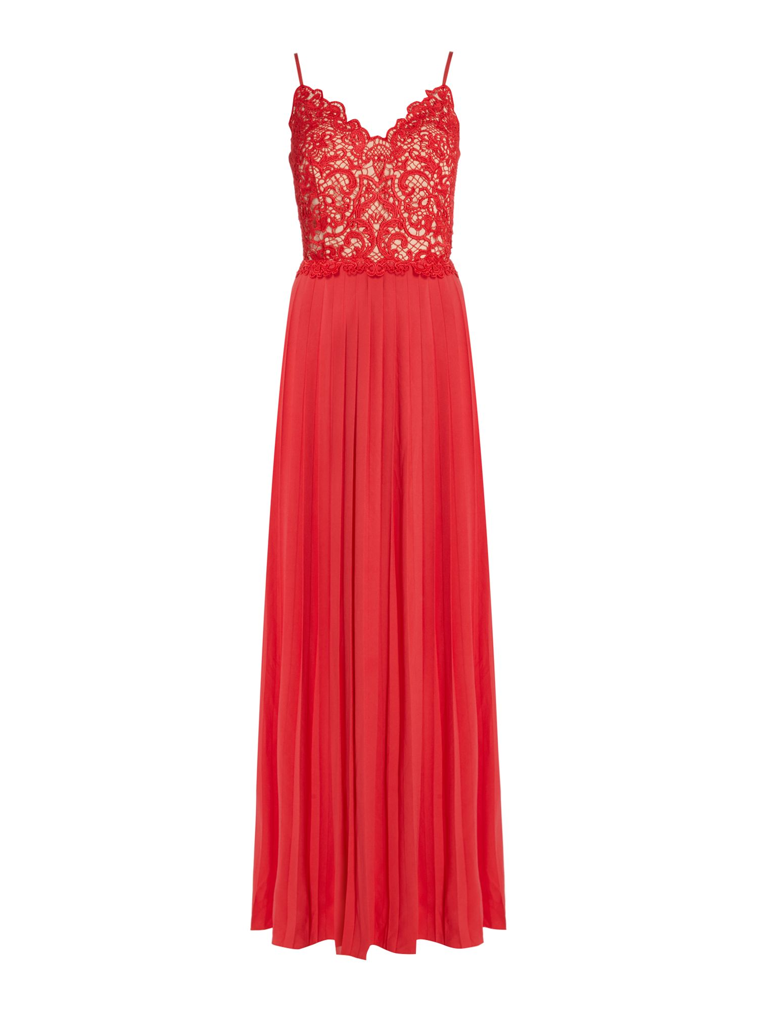 Little Mistress Strappy embroidered pleated maxi dress, Orange