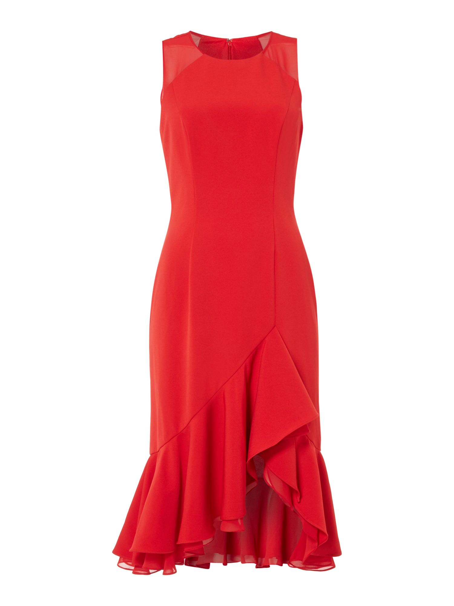 JS Collections Sleeveless ruffle maxi, Red