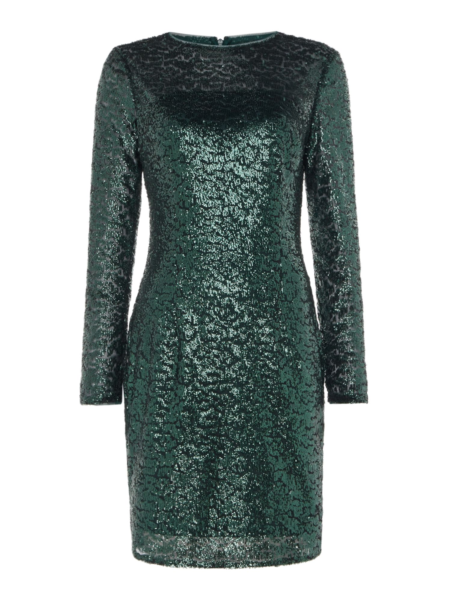 JS Collections Long sleeve sequin midi, Green
