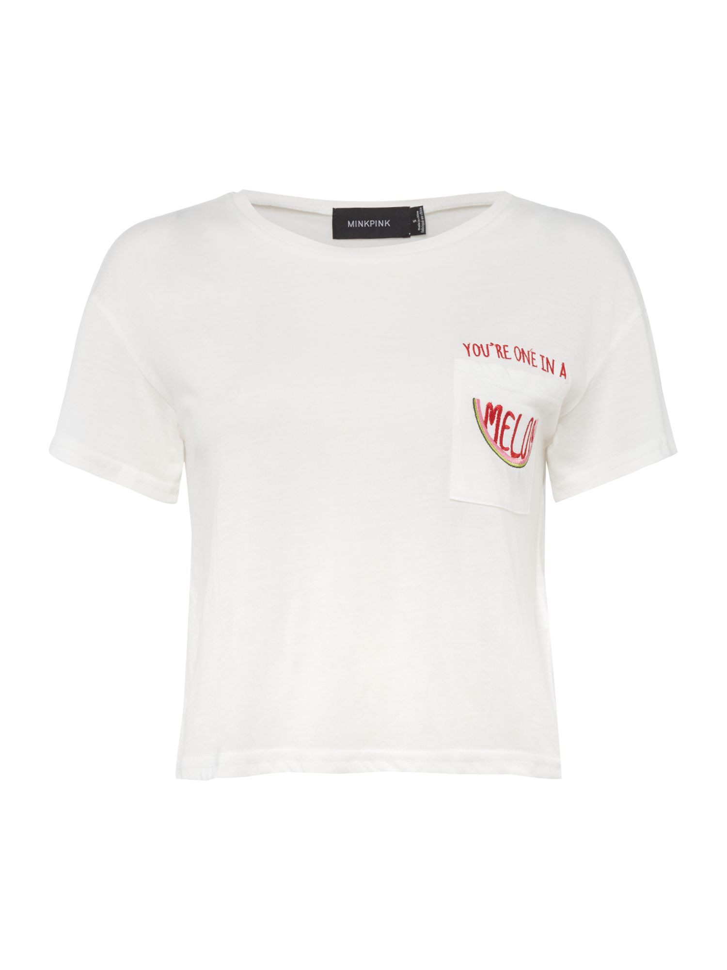 Mink Pink Crop top jersey tee, White