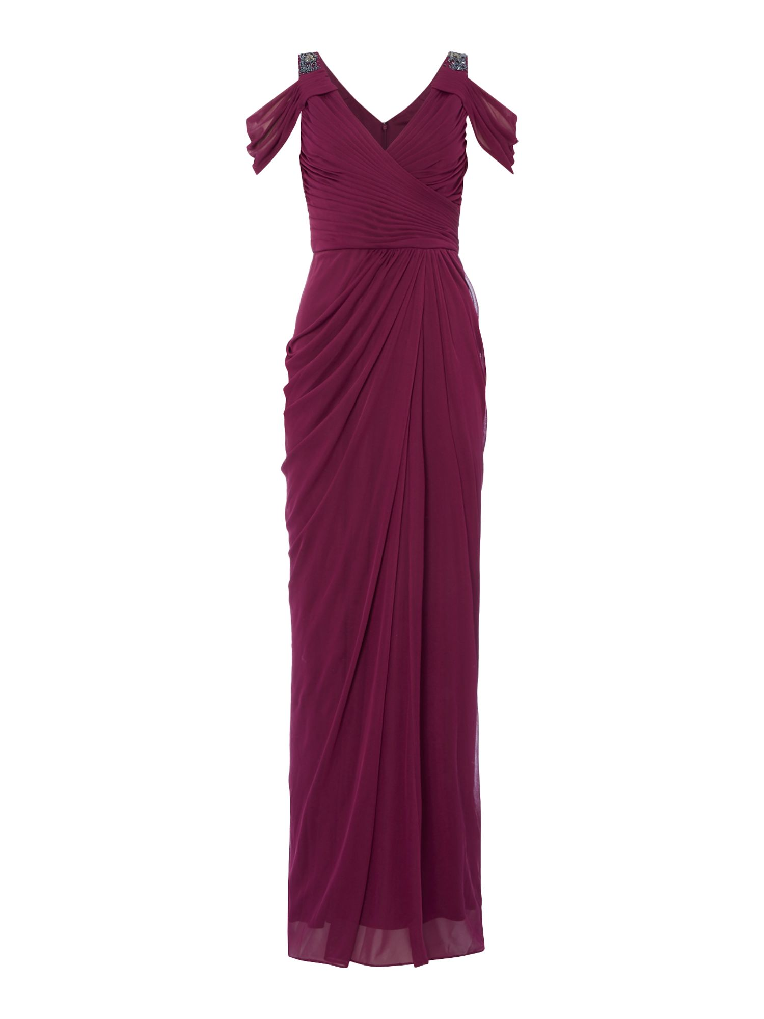 Adrianna Papell Cold shoulder drape maxid ress, Purple