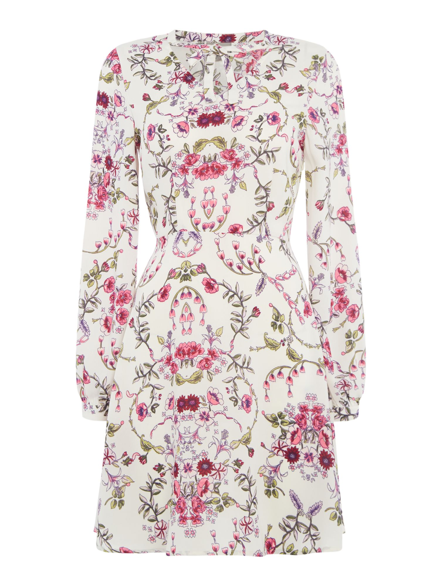 Vero Moda Long sleeves wrap embroidered dress, Multi-Coloured
