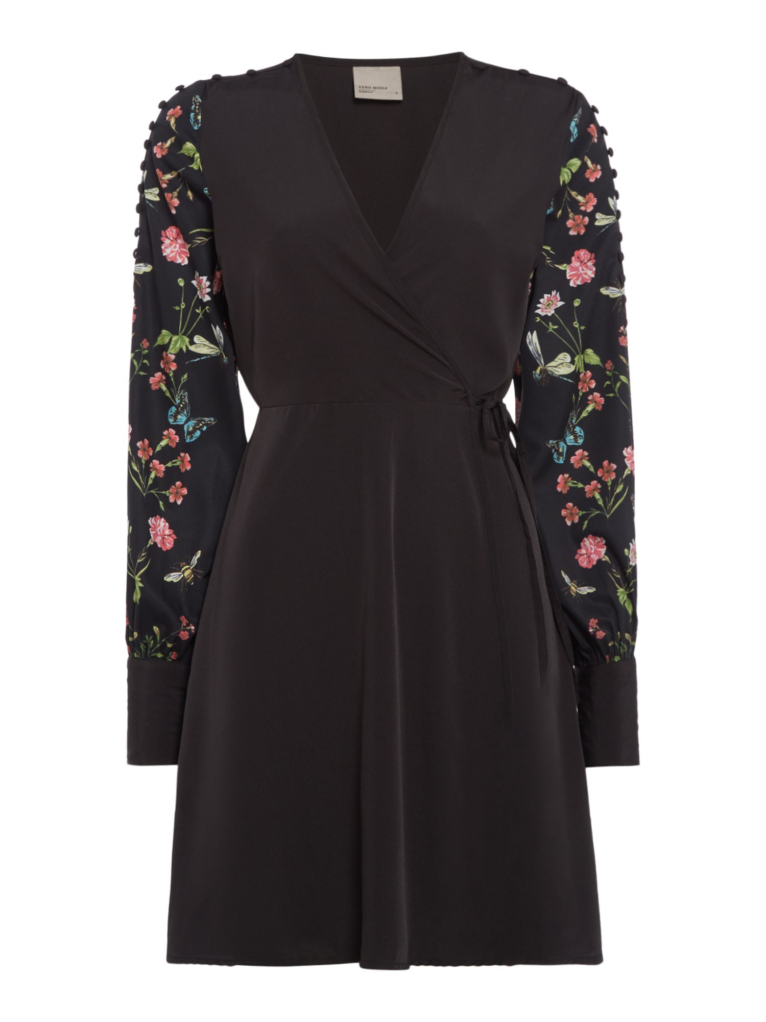 Vero Moda Short sleeve floral high neck dress, Black