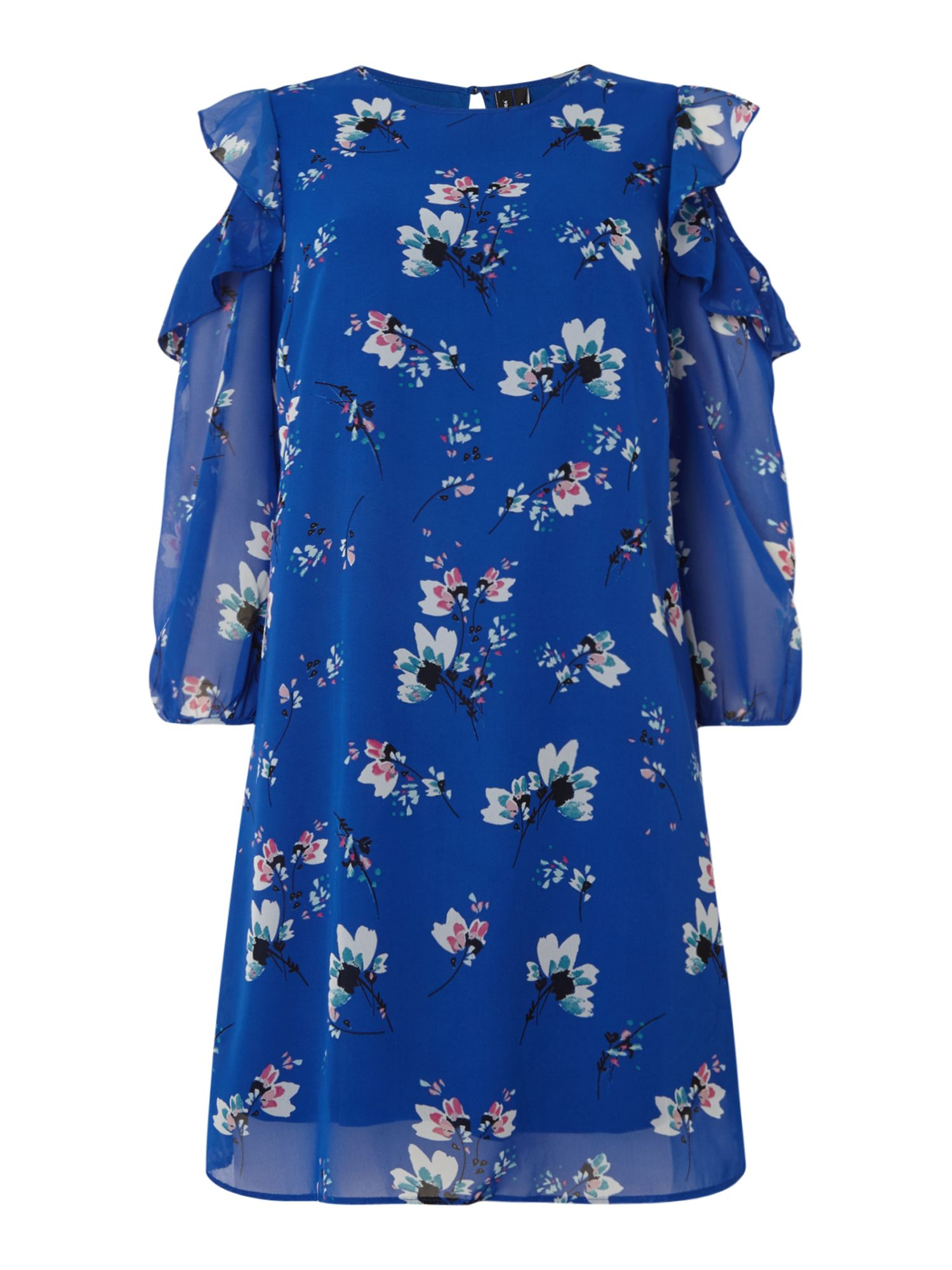Vero Moda Cold shoulder floral mid dress, Blue