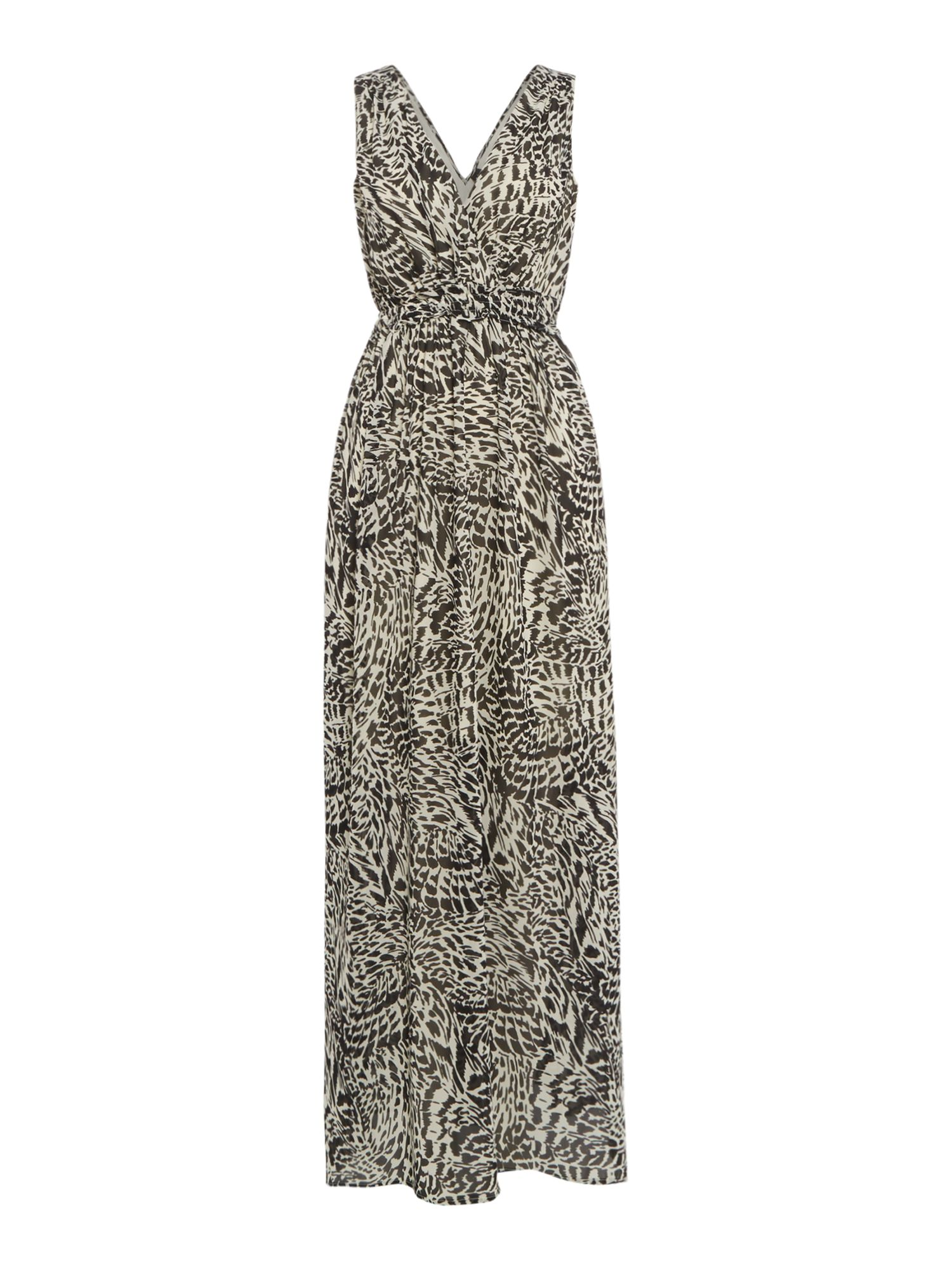 Vero Moda V neck flowy animal print maxi dress, Black