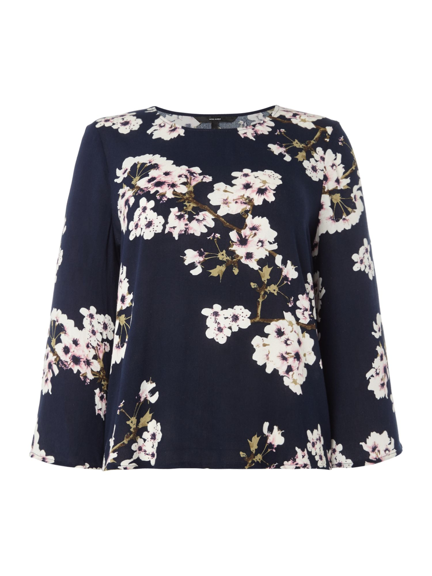 Vero Moda Wide 3/4 sleeve floral print top, Blue