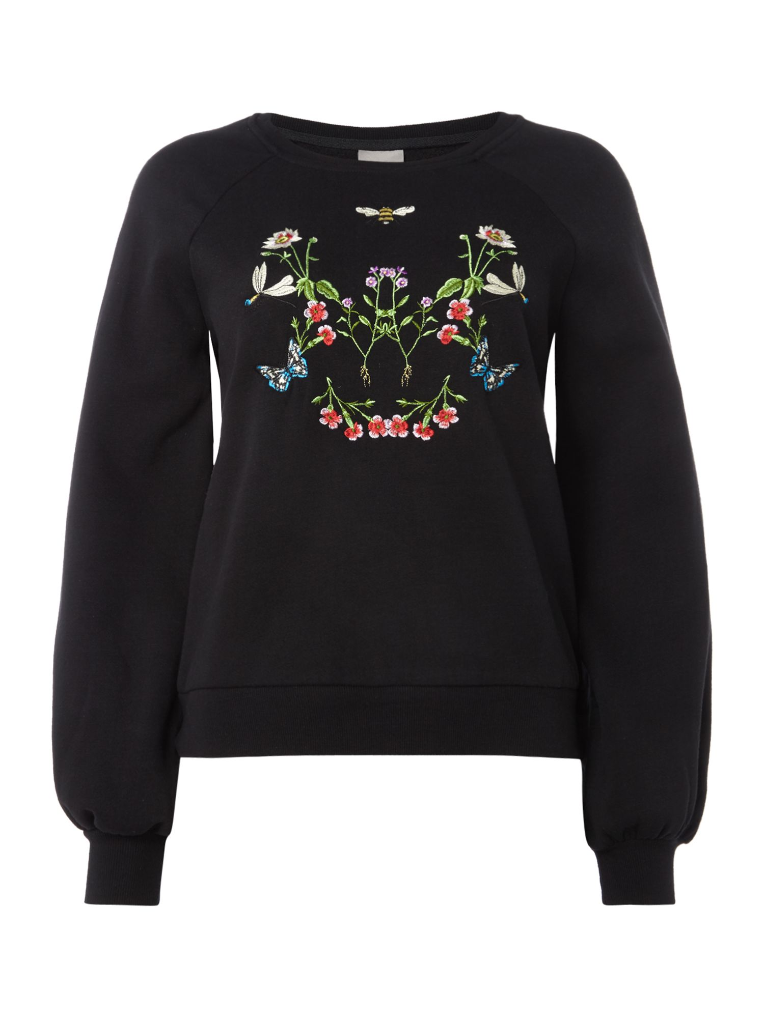 Vero Moda Long sleeves embroidered sweatshirt, Black