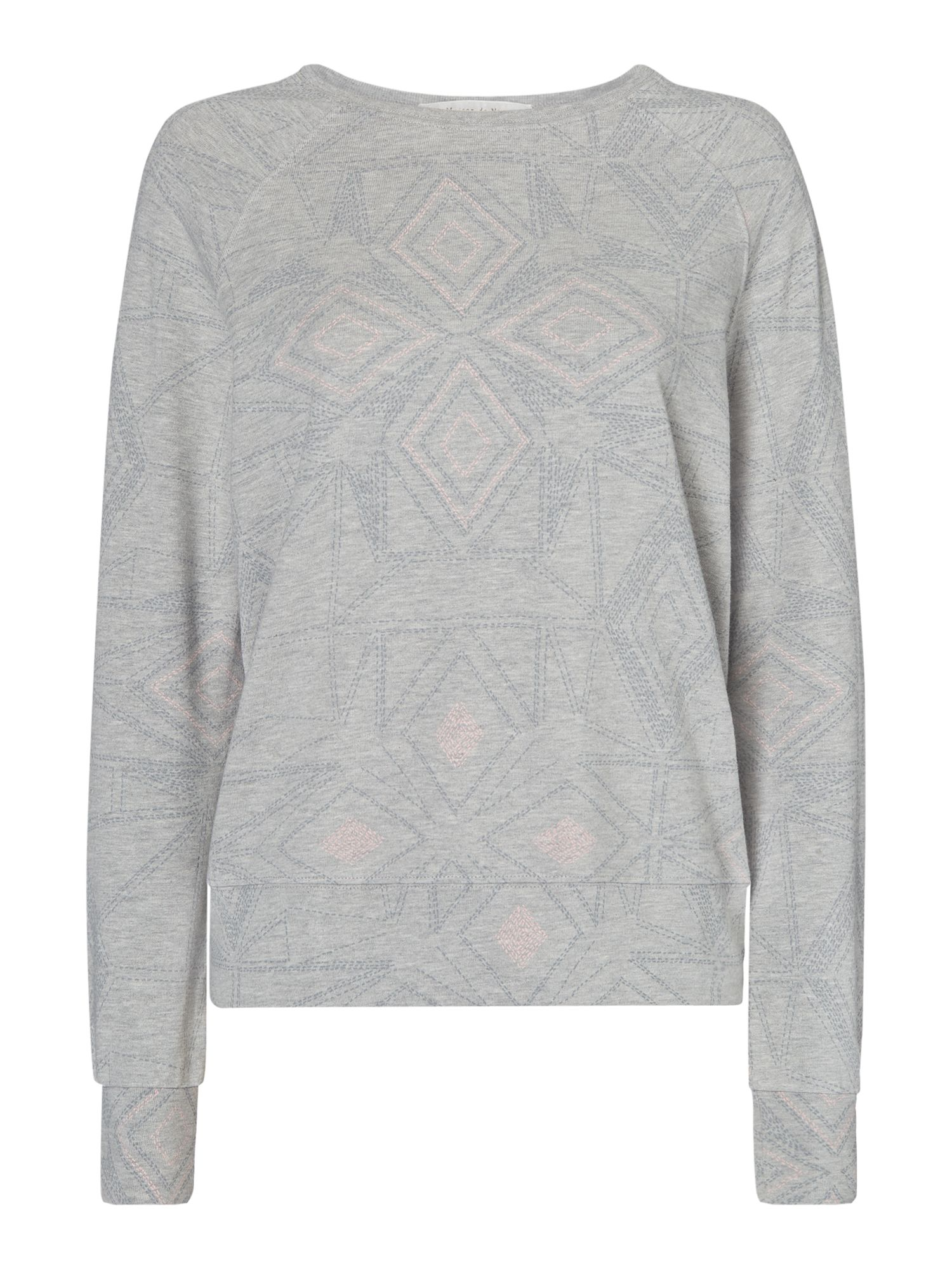 Maison De Nimes Stitch pattern sweat, Grey Marl