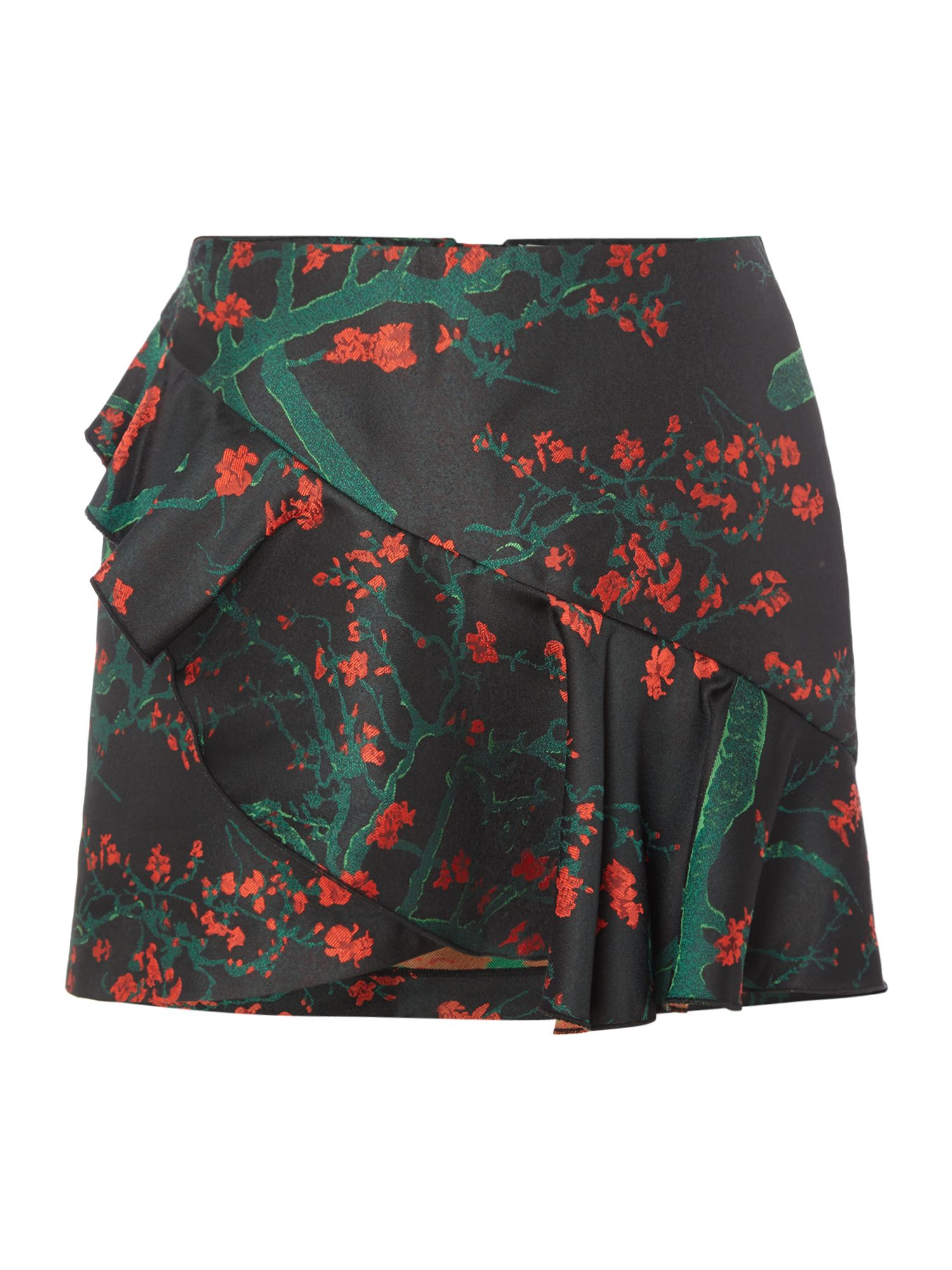 Vero Moda Ruffle floral mini skirt, Black