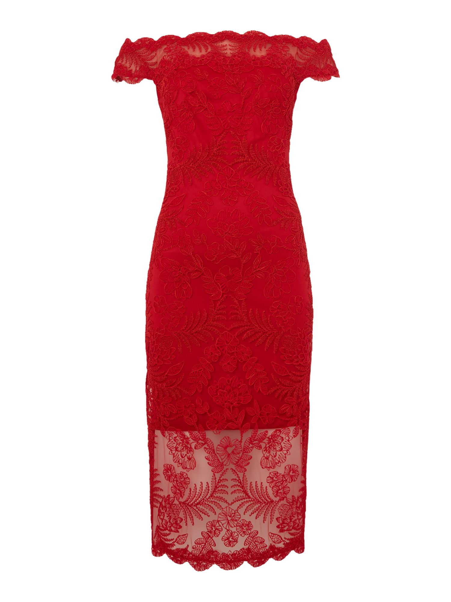 Tadashi Shoji Red off shoulder lace midi dress, Red