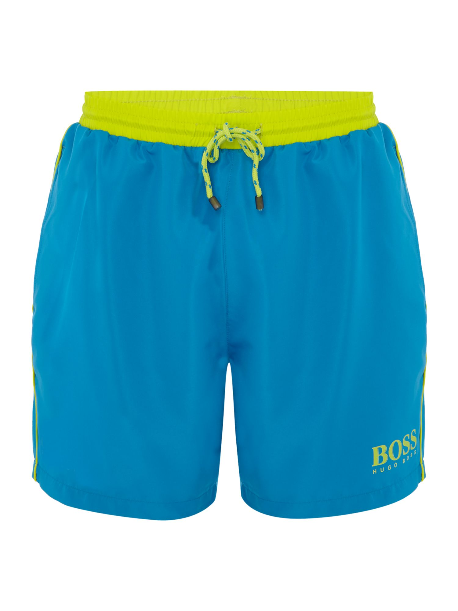 Men's Hugo Boss Starfish Contrast Waistband Swim Shorts, Aqua