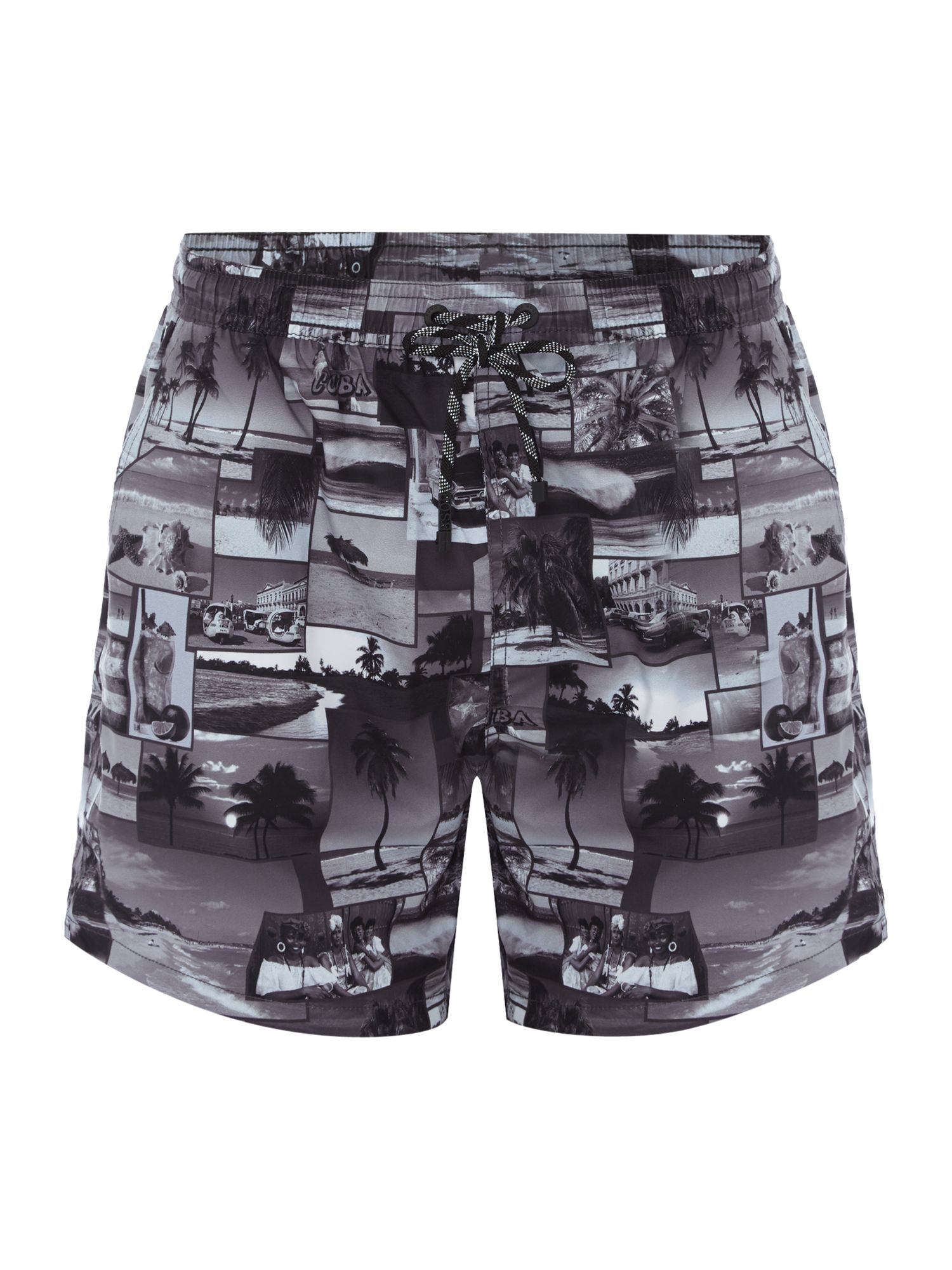 Men's Hugo Boss Springfish Cuba Print Swim Shorts, Black