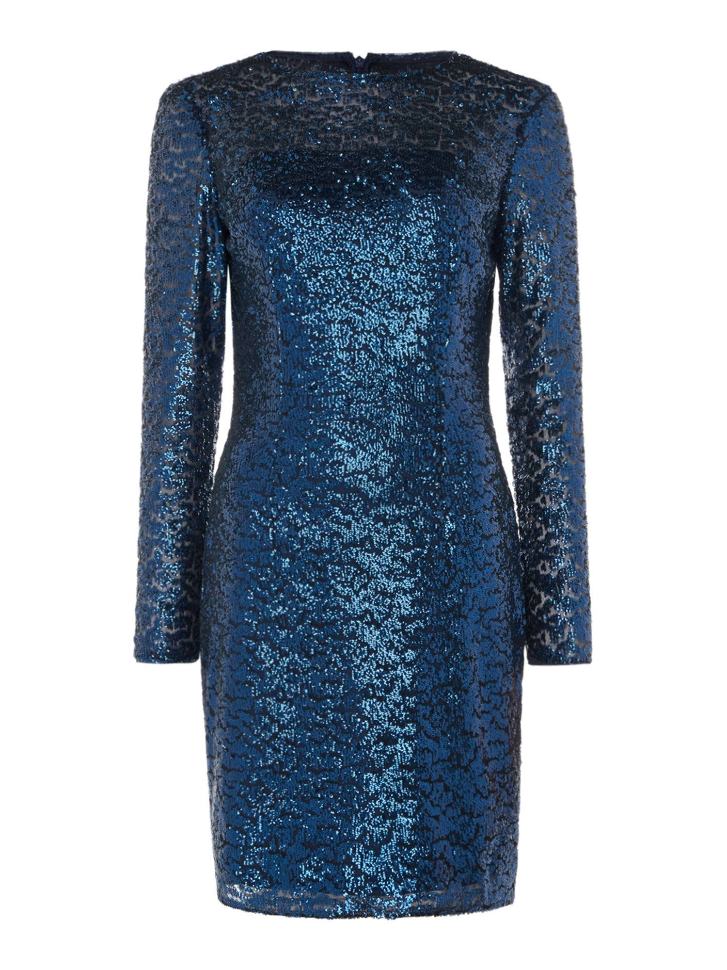 JS Collections Long sleeve sequin midi, Blue