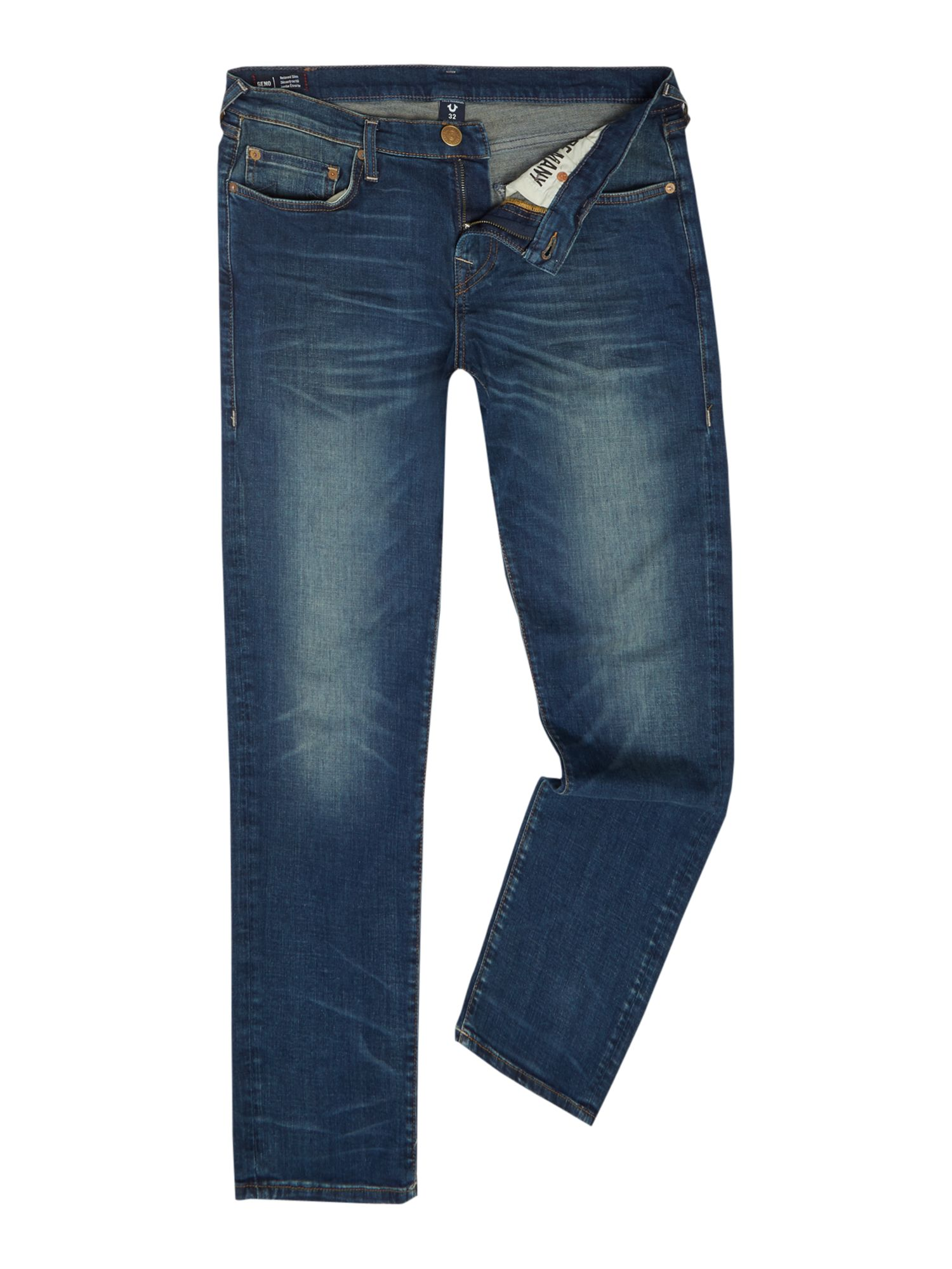 Mens Geno Dusty Rider Mid Wash Tapered Jeans, Denim Mid Wash
