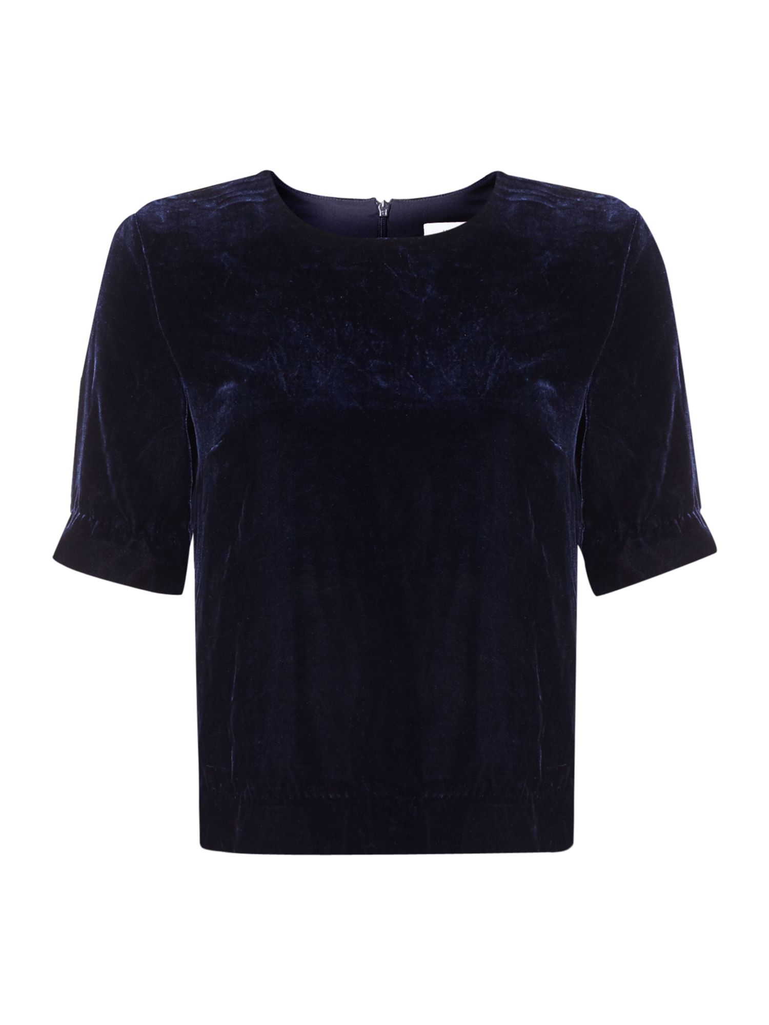 Ivy & Oak Short sleeve velvet top, Blue