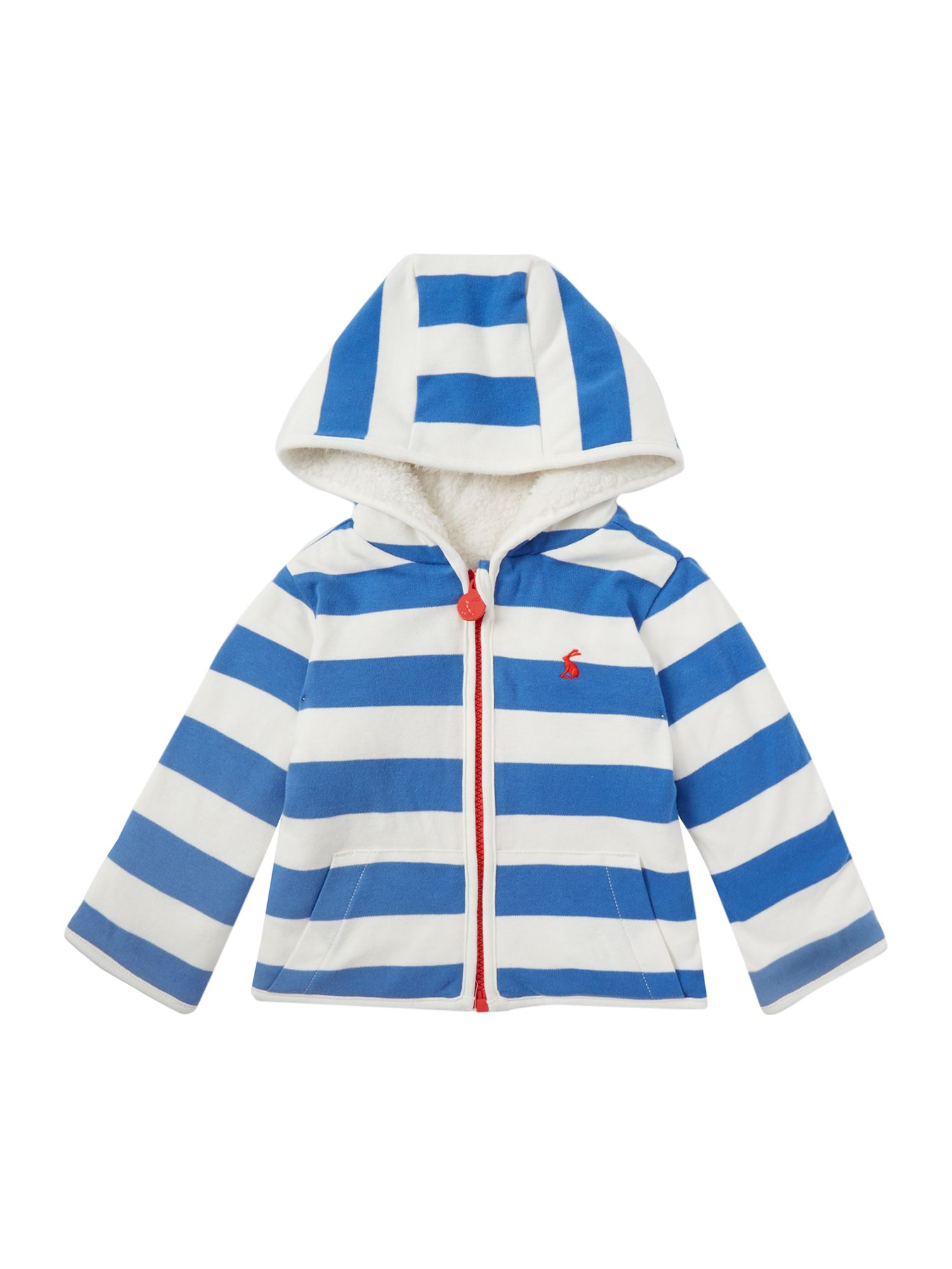Click to view product details and reviews for Joules Baby Girl Hooded Stripe Zip Through Sweater Blue.
