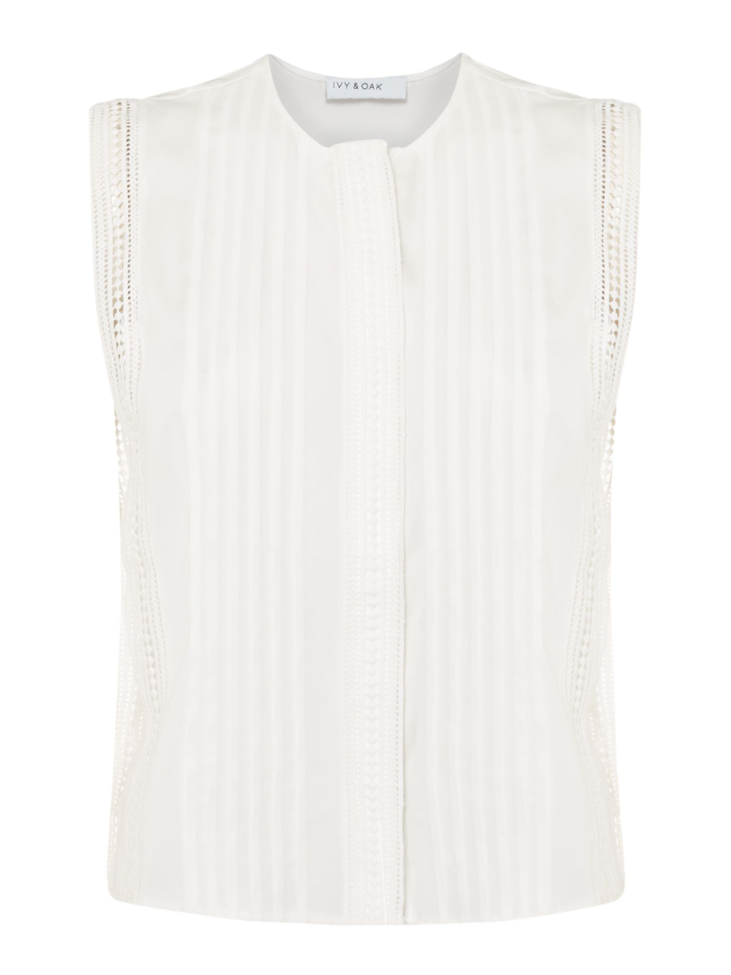 Ivy & Oak Sleeveless print tuck top, White
