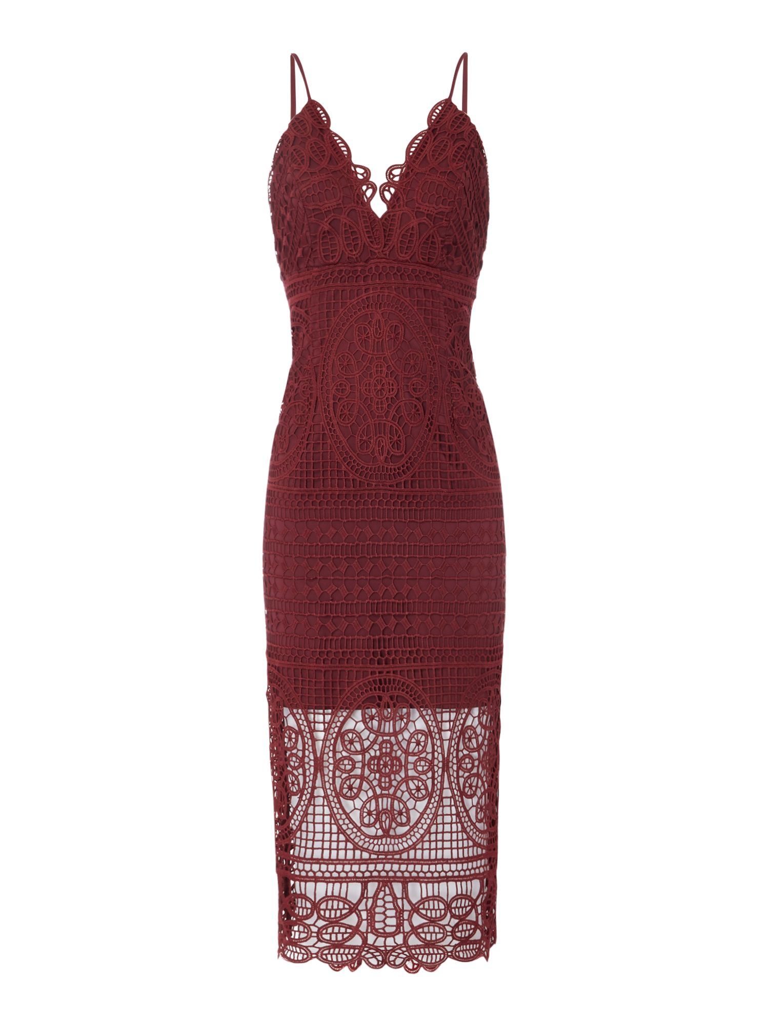 Bardot Thin strap v neck lace midi dress, Red
