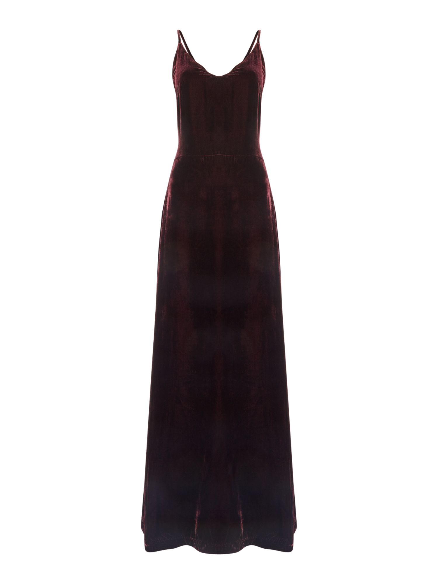 Ivy & Oak Cross strap velvet maxi, Red