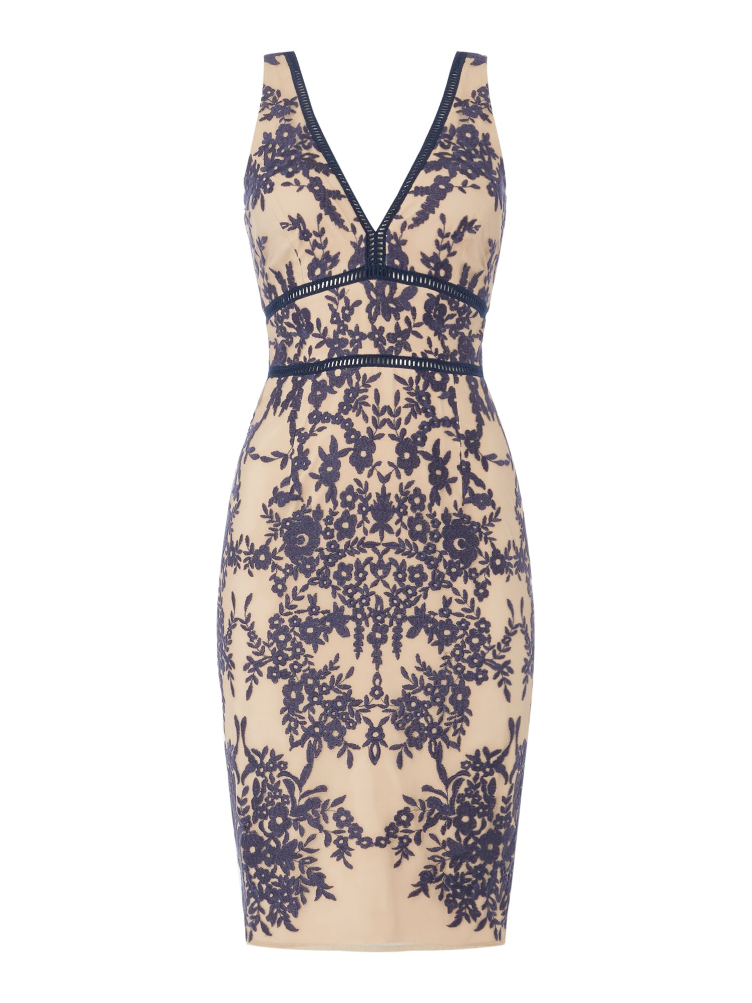 Bardot Deep v neck lace bodycon midi dress, French Blue