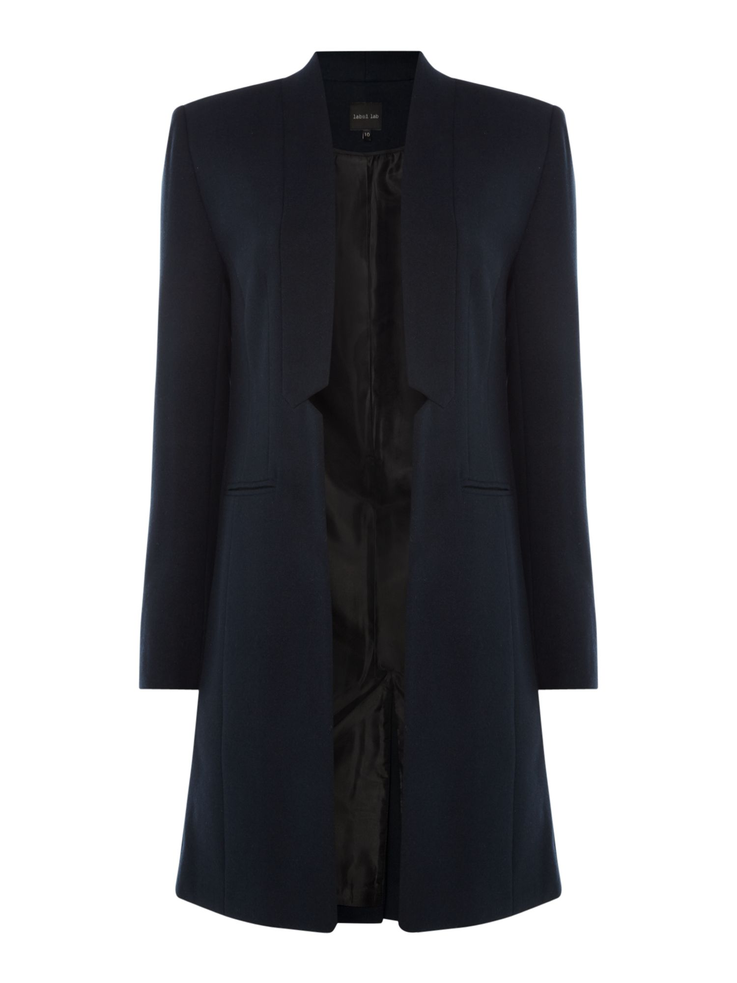 Label Lab Sharp Tailored Notch  Front Coat, Blue