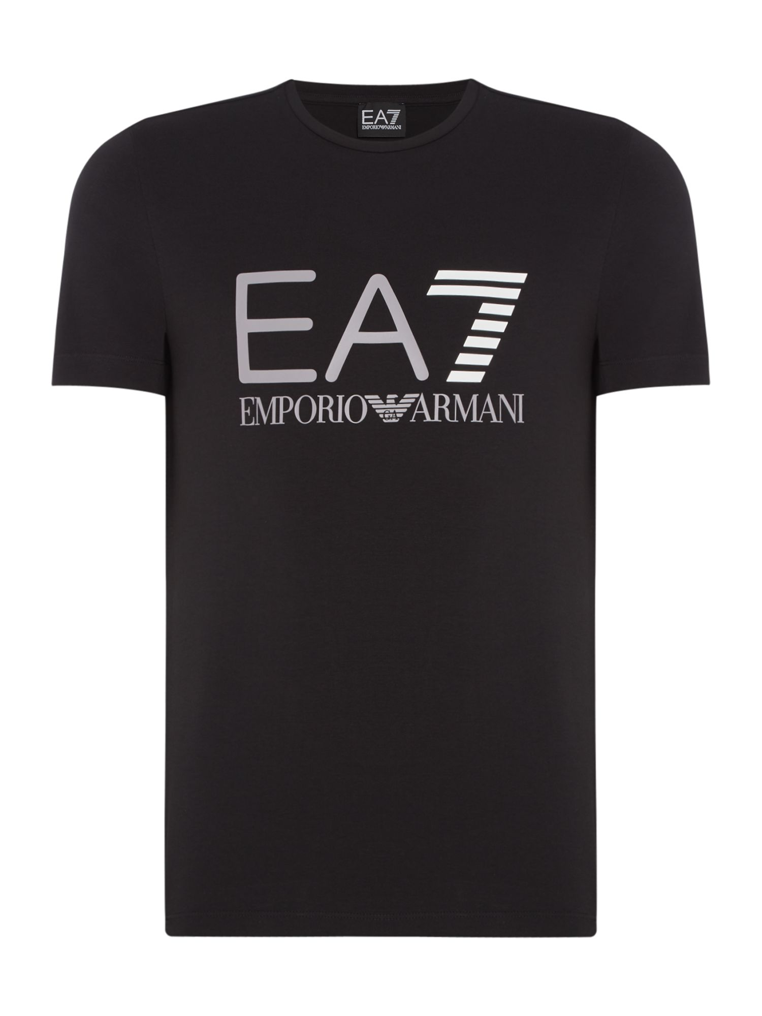 Men's EA7 Train logo series crew neck T-shirt, Black