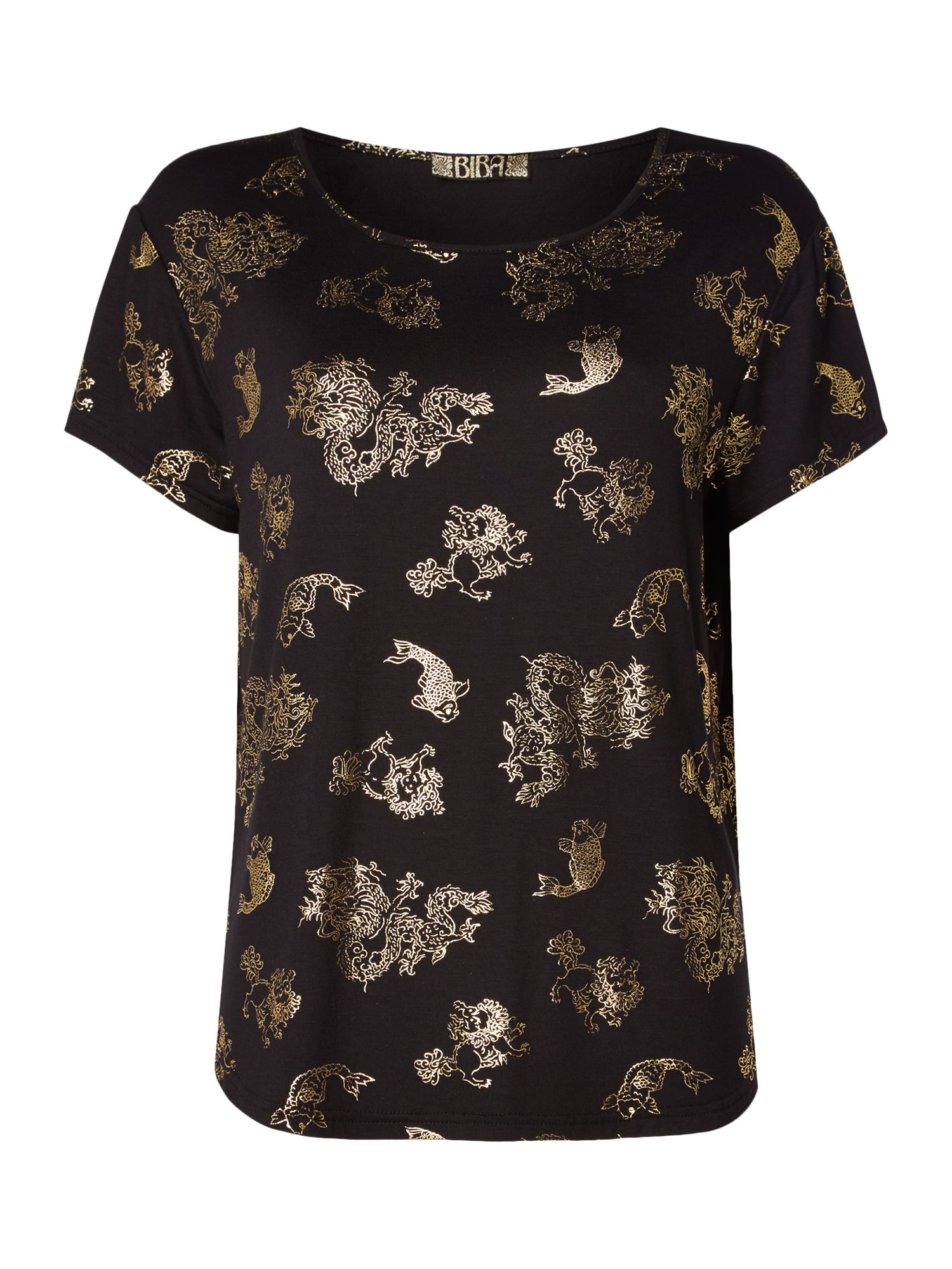 Biba Foil dragon t-shirt, Black
