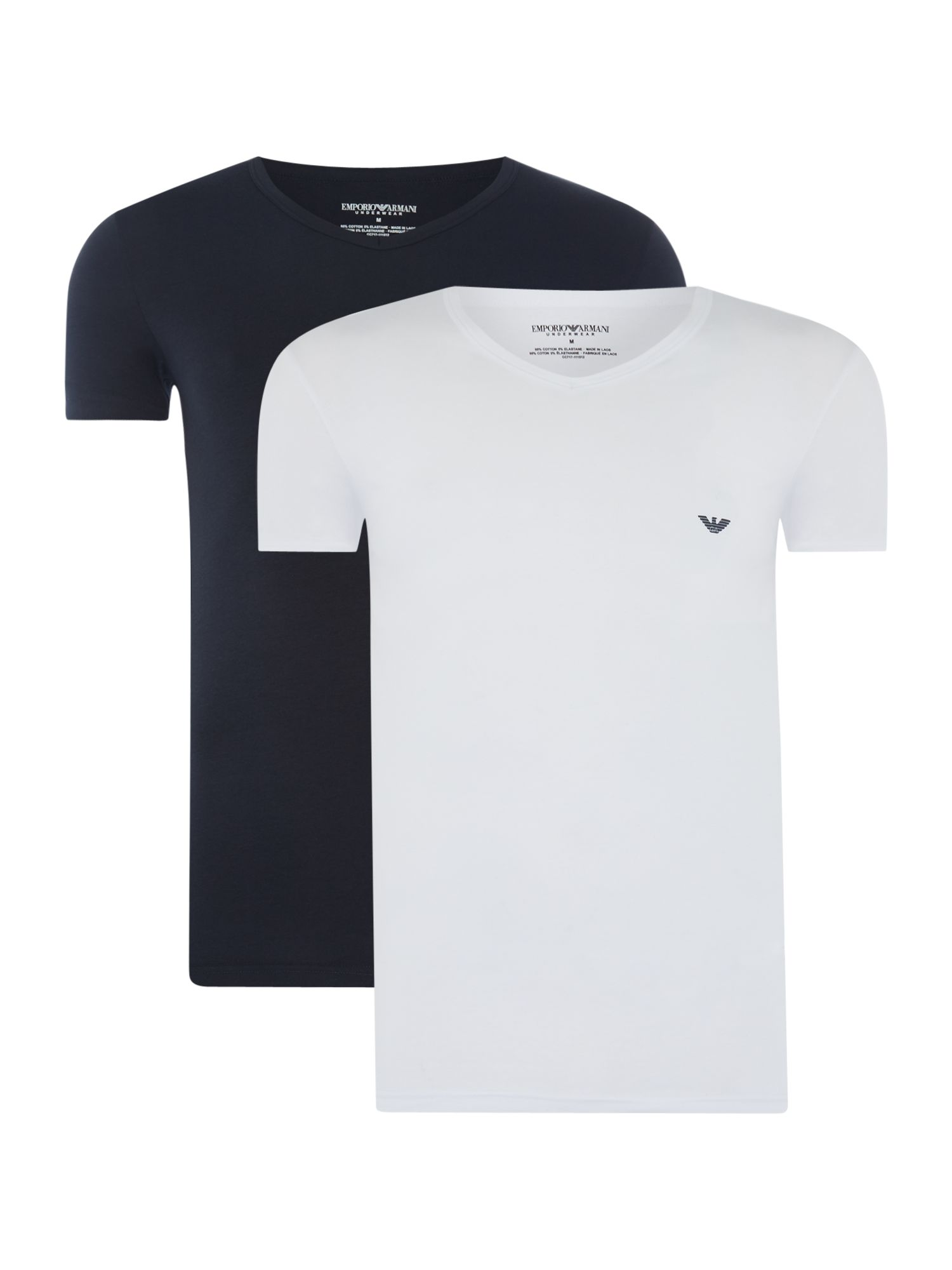 Men's Emporio Armani 2 Pack V Neck Small Logo T Shirt, White & Blue