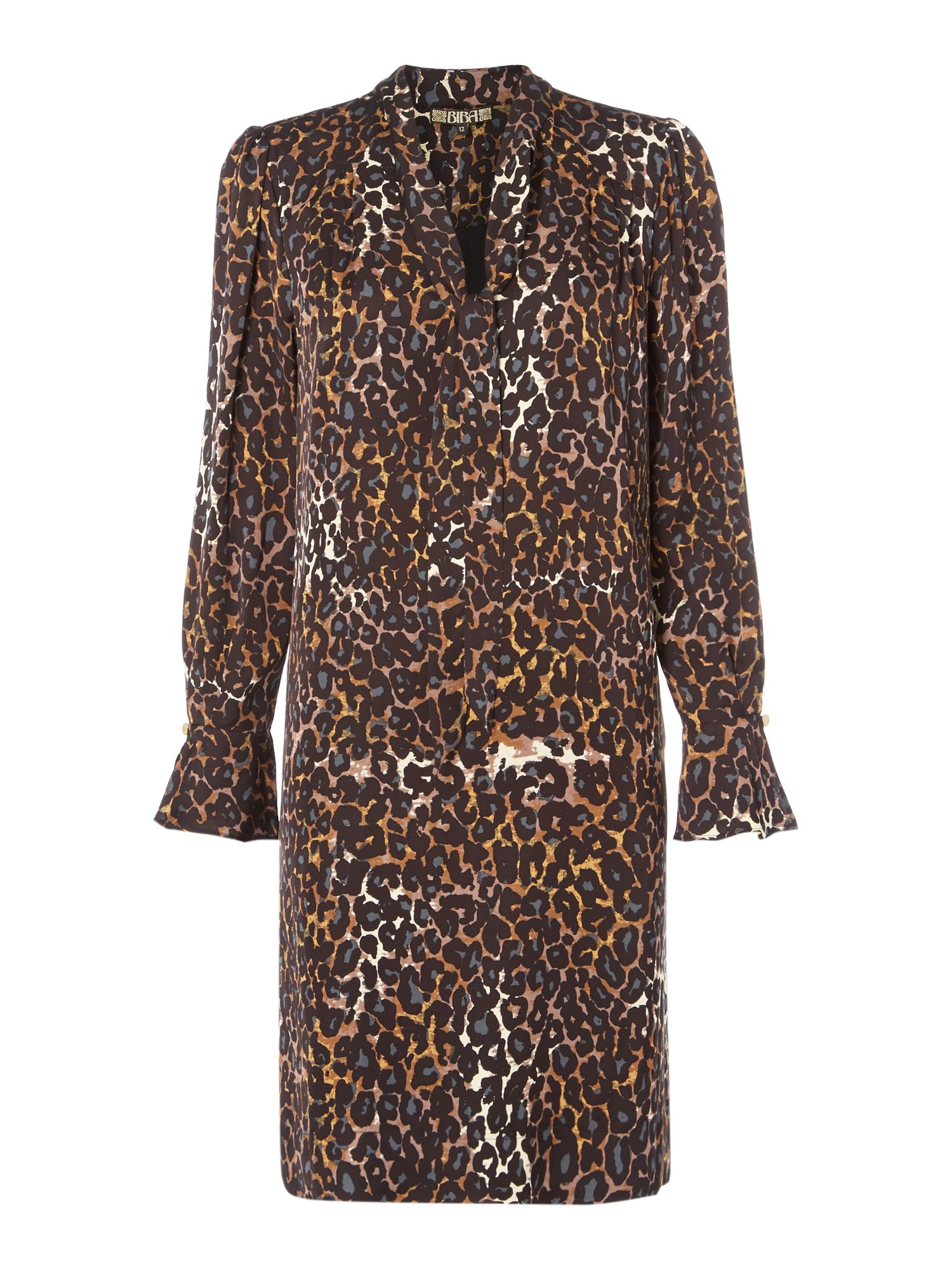 Biba Leopard print pussybow dress, Multi-Coloured