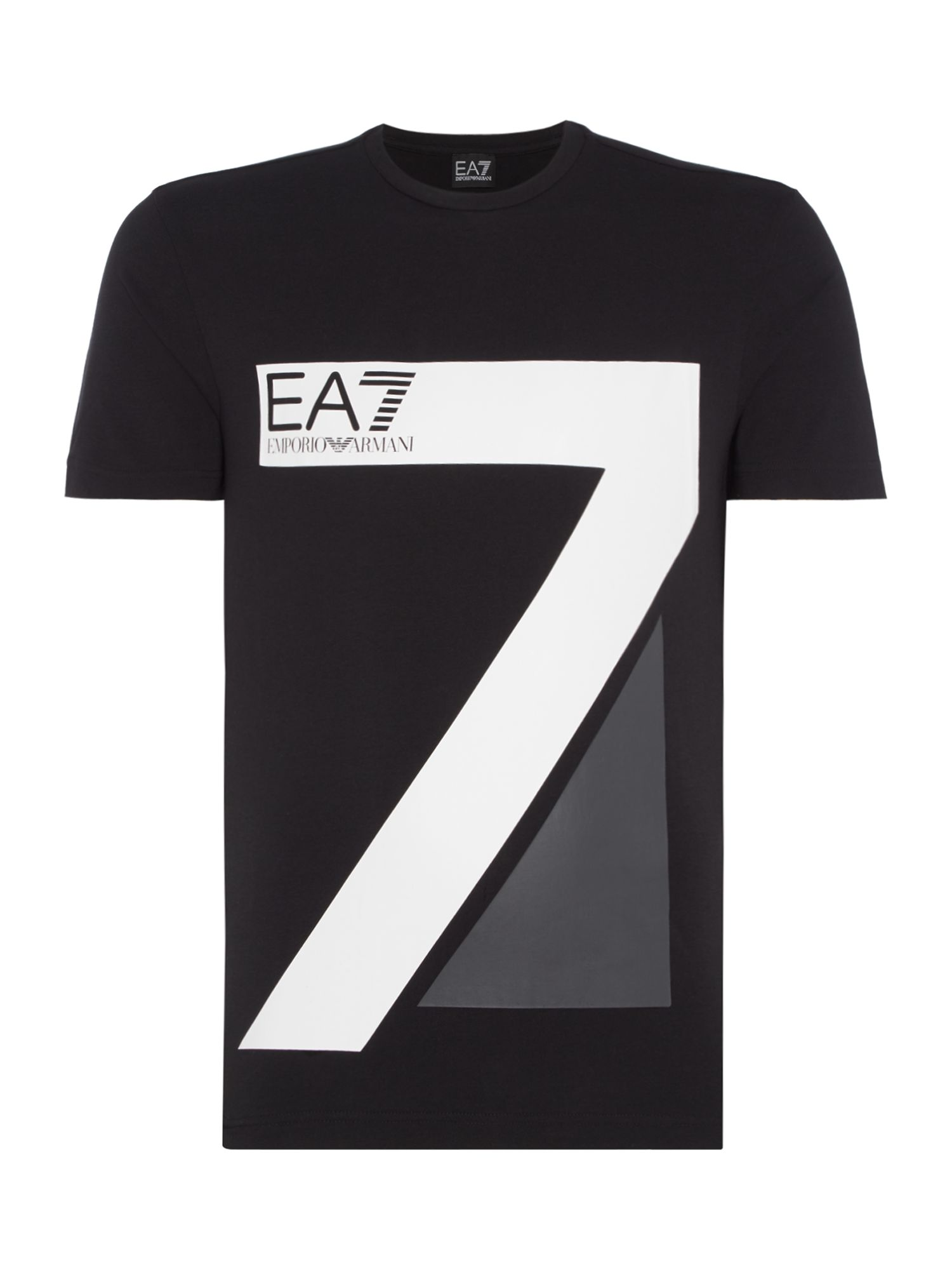 Men's EA7 Train logo 7 series crew neck T-shirt, Black