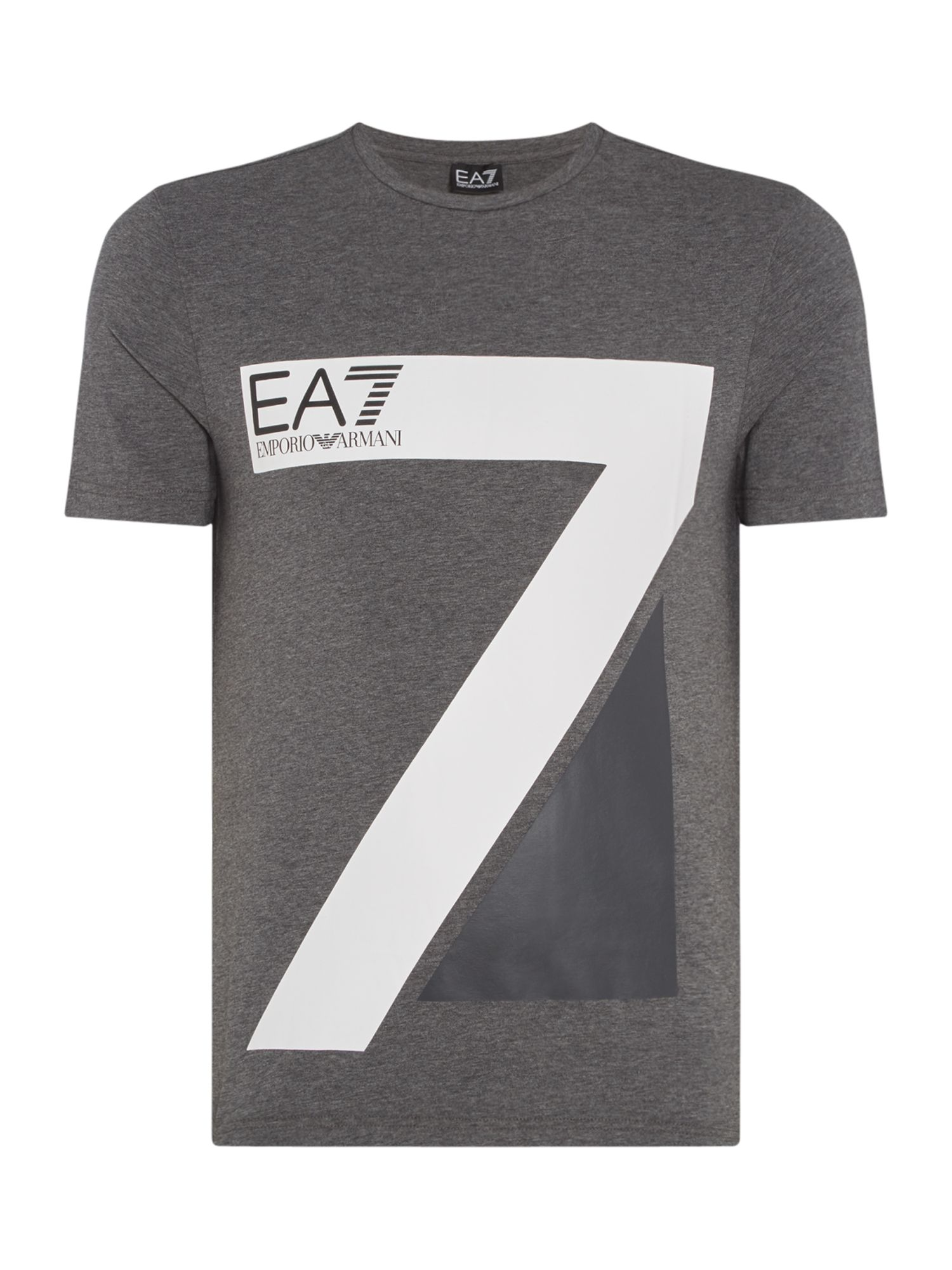 Men's EA7 Train logo 7 series crew neck T-shirt, Dark Grey Marl