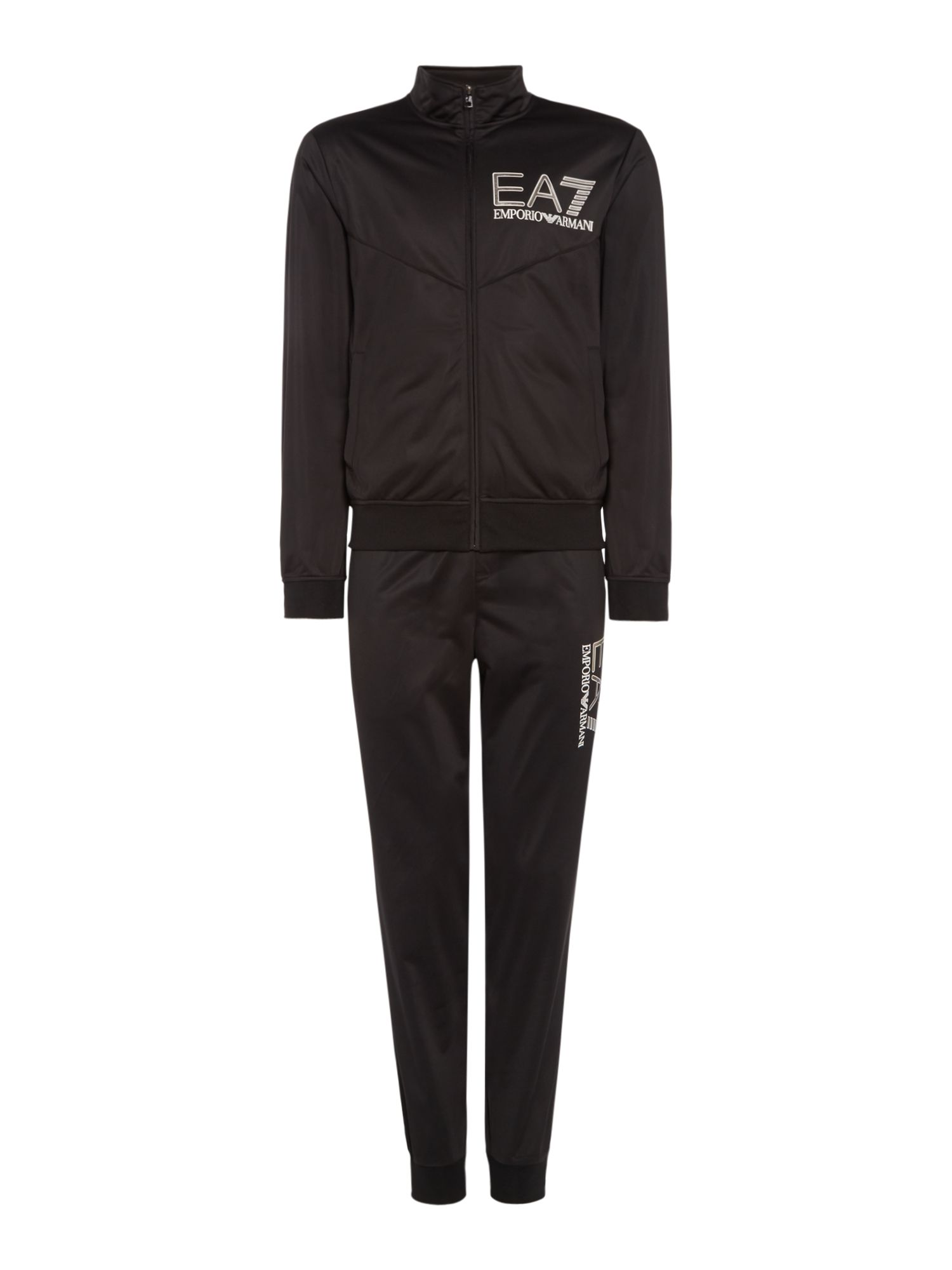 Men's EA7 Visibility cuffed poly tracksuit, Black