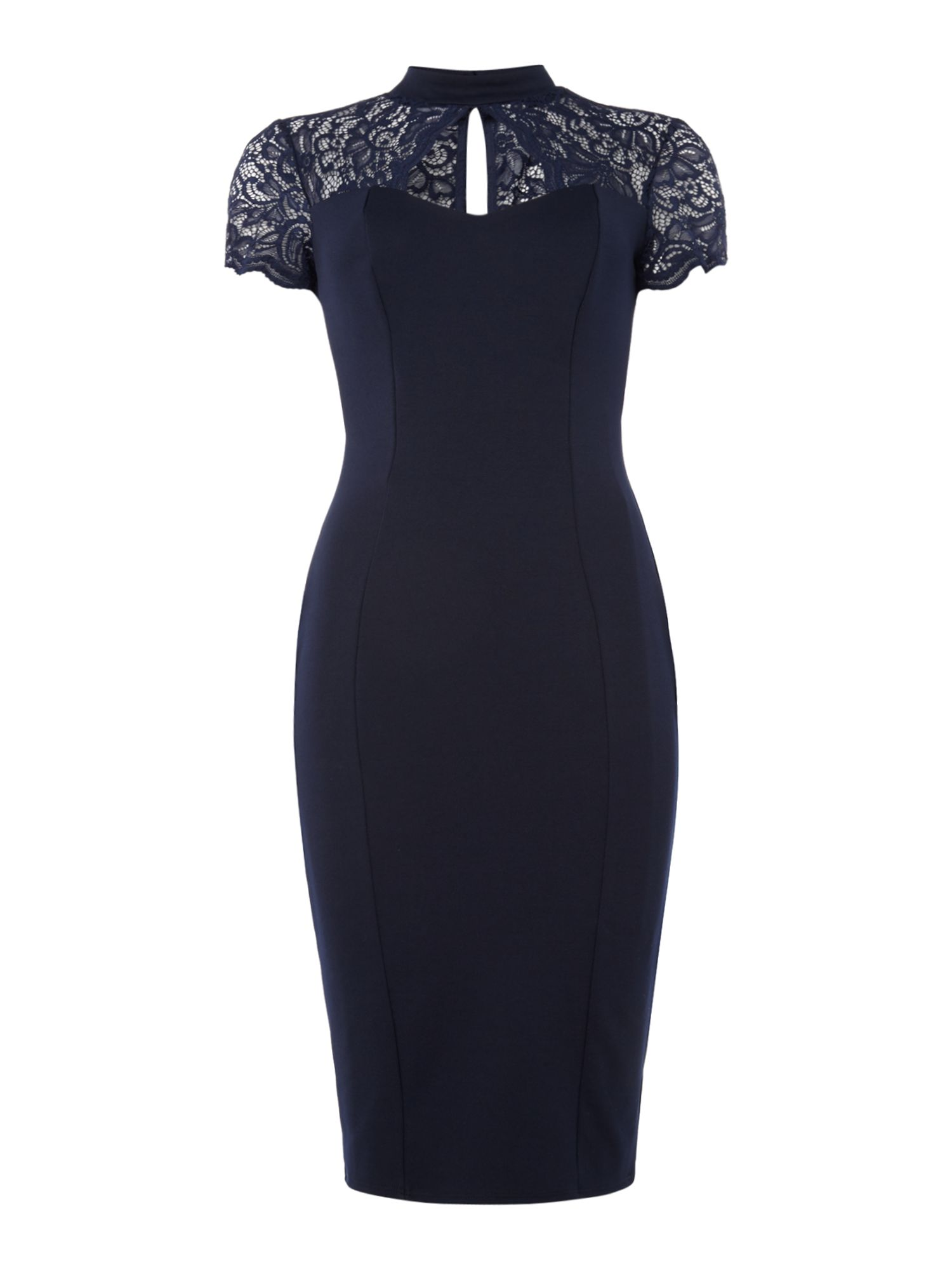 Jessica Wright Key hole lace top bodycon, Blue