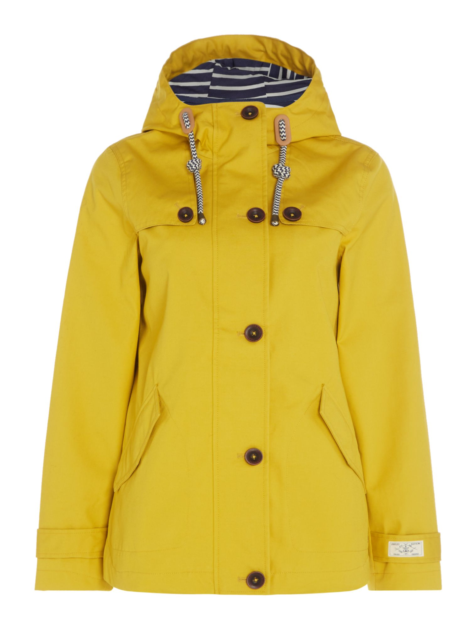 Joules Long sleeves hooded waterproof jacket, Antique Gold