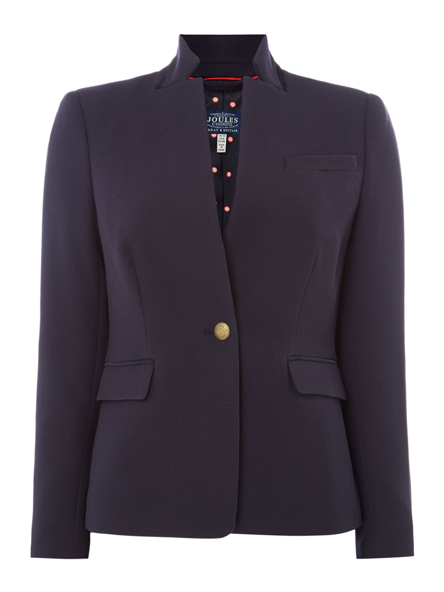 Joules Pique Long Sleeves Blazer, French Blue